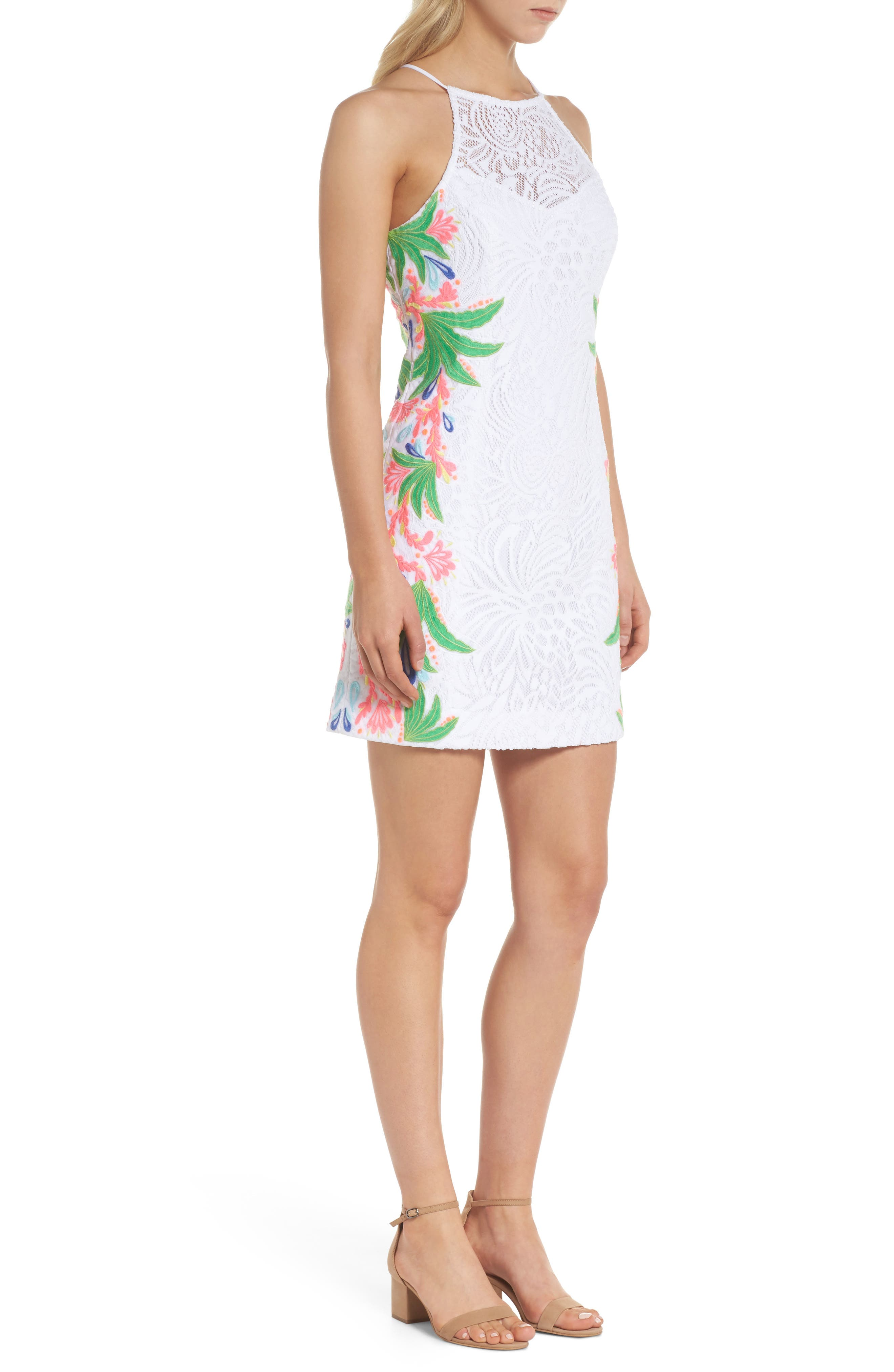 Pearl Lace Sheath Dress,                             Alternate thumbnail 3, color,                             RESORT WHITE TROPICAL LACE