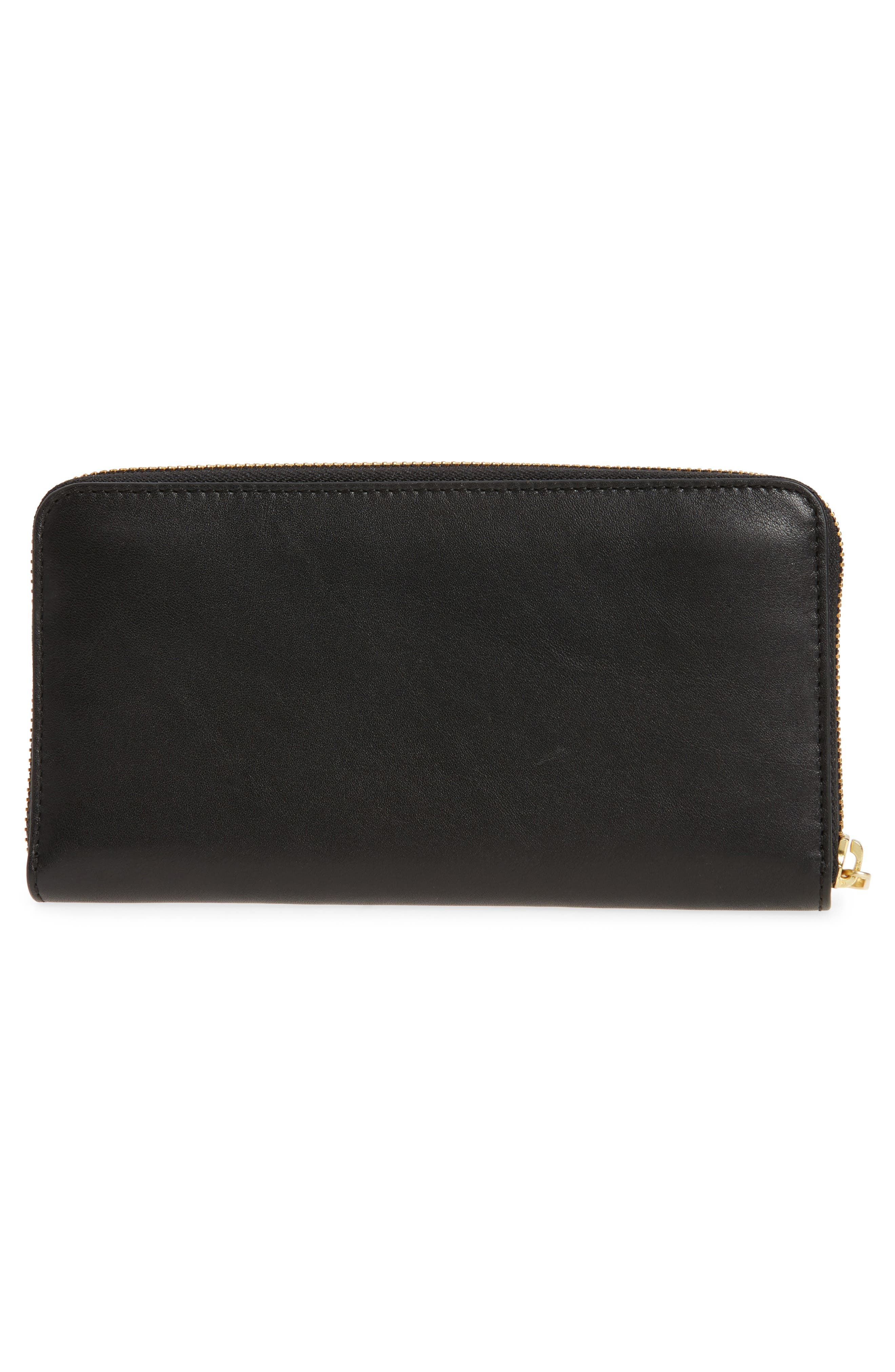 Leather Continental Wallet,                             Alternate thumbnail 3, color,                             001