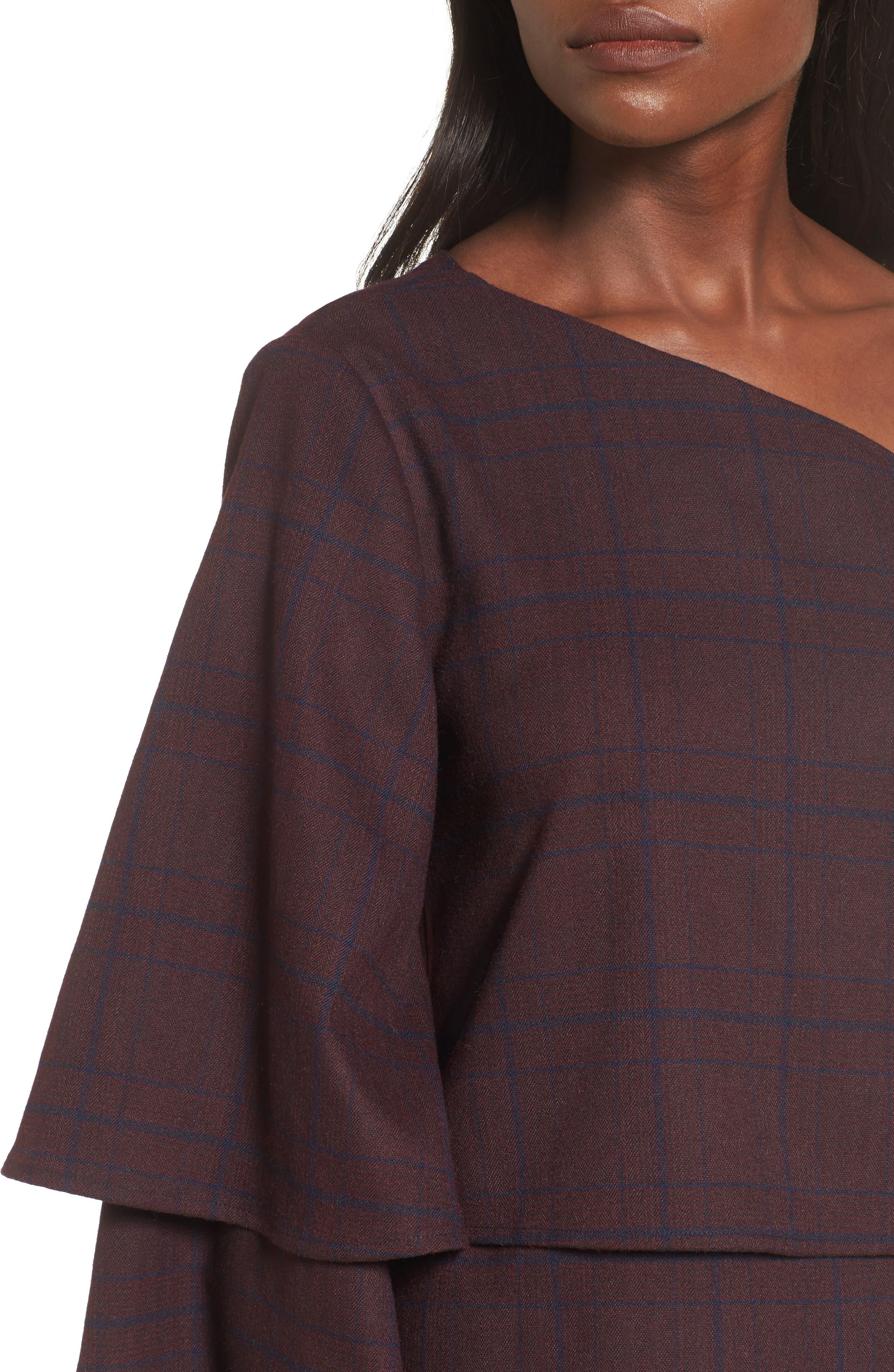 Asymmetric Ruffle Sleeve Top,                             Alternate thumbnail 4, color,                             500