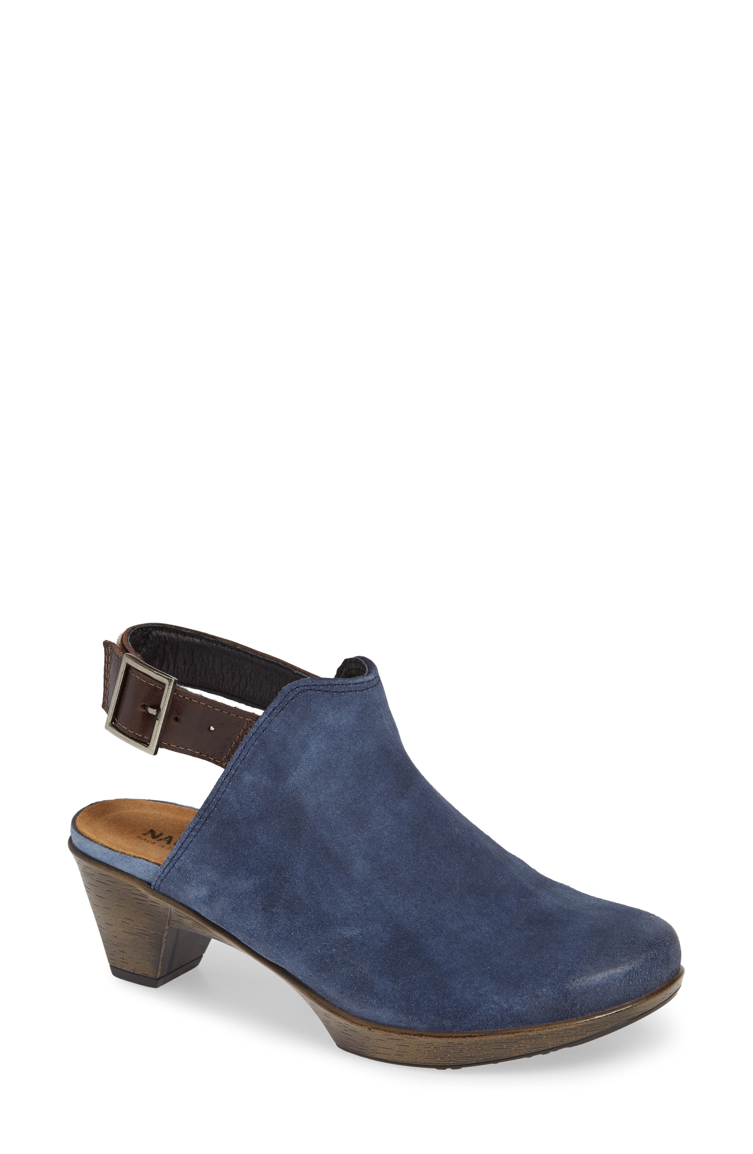 Upgrade Bootie,                             Main thumbnail 1, color,                             BLUE/ WALNUT SUEDE/ LEATHER