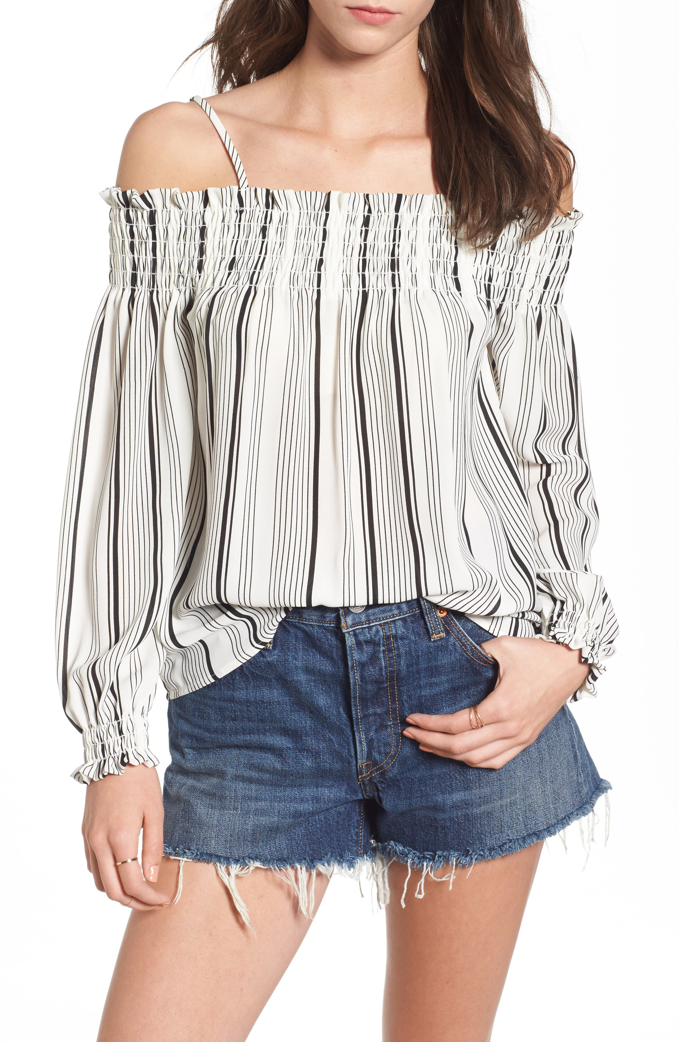 Smocked Off the Shoulder Top,                             Main thumbnail 1, color,                             001