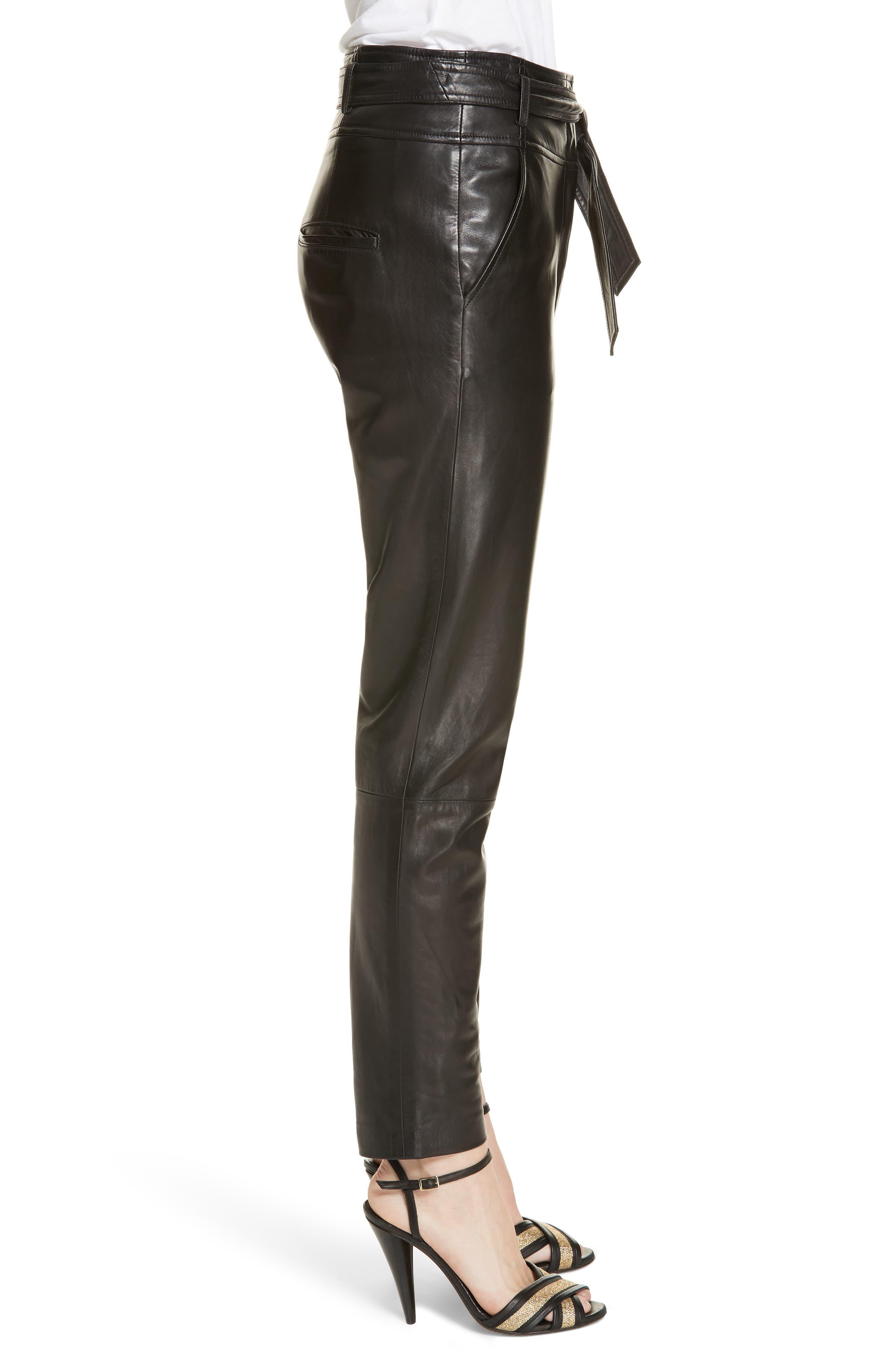 Faxon Leather Pants,                             Alternate thumbnail 3, color,                             001