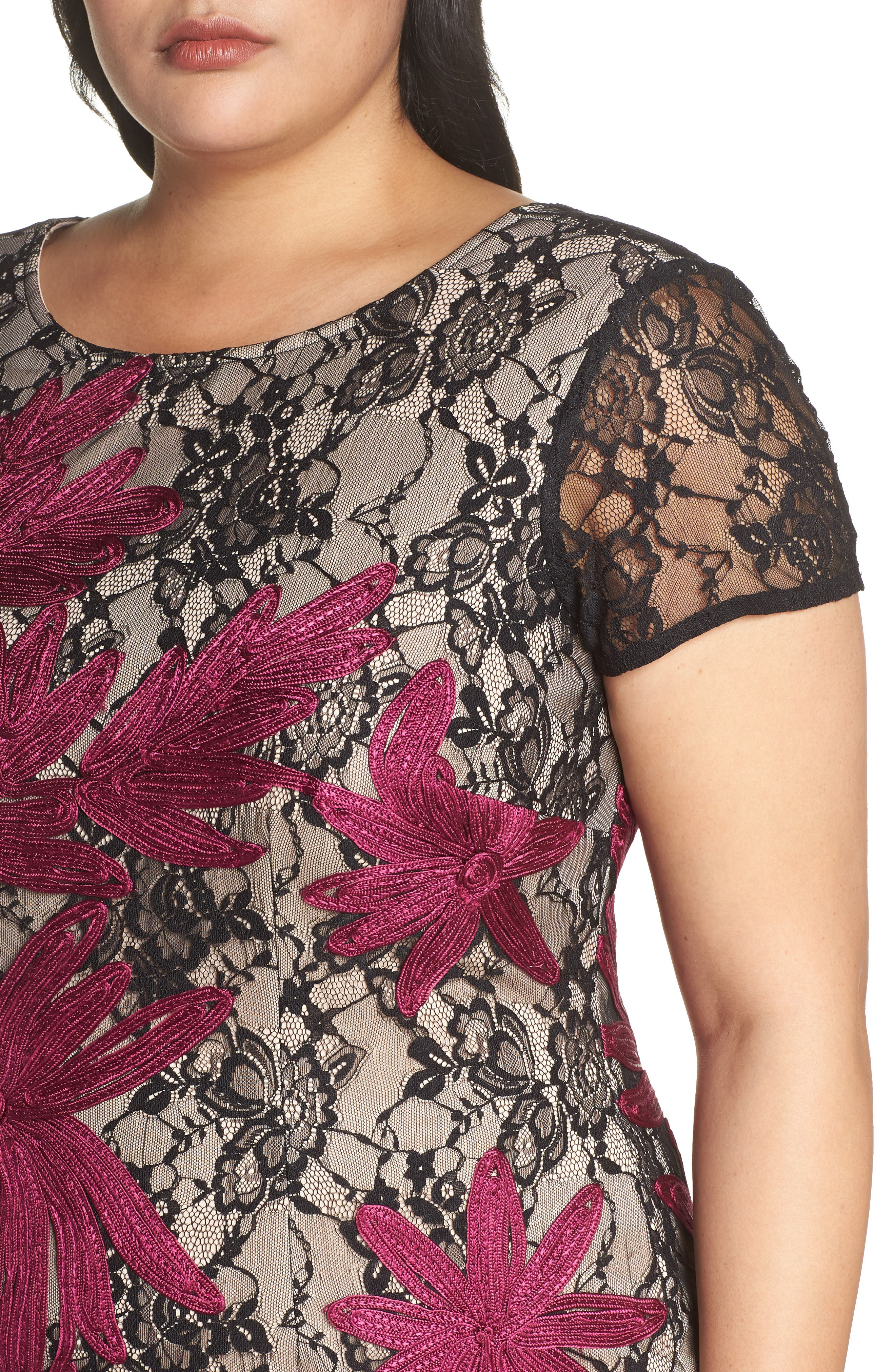 Two Tone Embroidered Lace Dress,                             Alternate thumbnail 4, color,                             BLACK/ MAGENTA