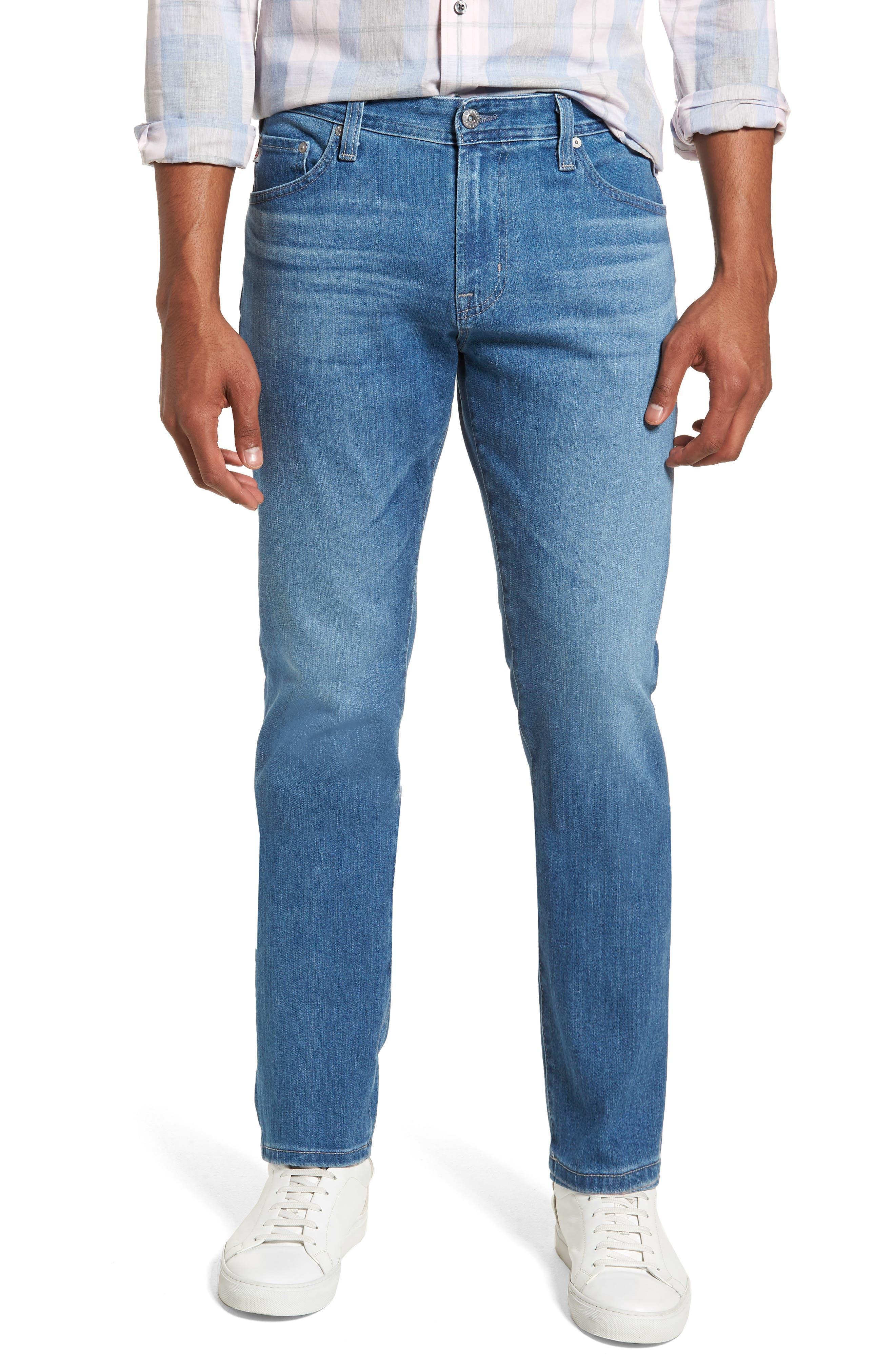 Everett Slim Straight Leg Jeans,                             Main thumbnail 1, color,                             SEA WAVE