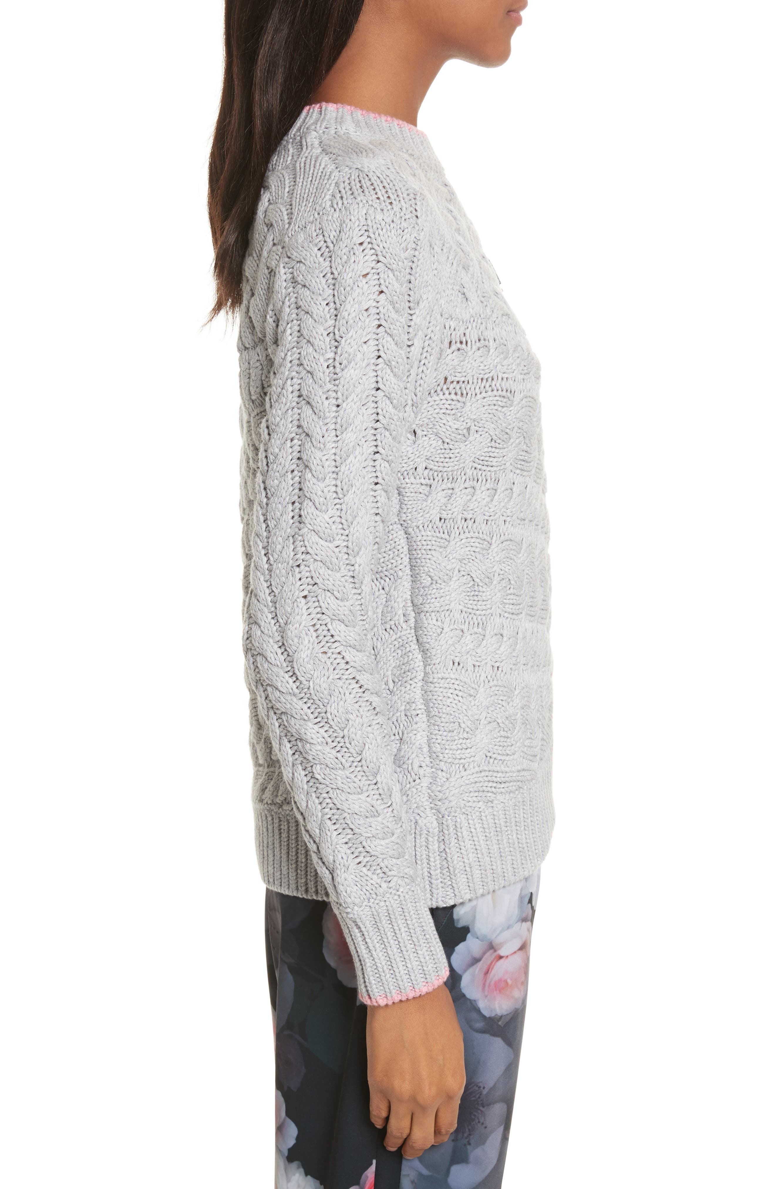 Charo Cable Knit Sweater,                             Alternate thumbnail 3, color,                             030