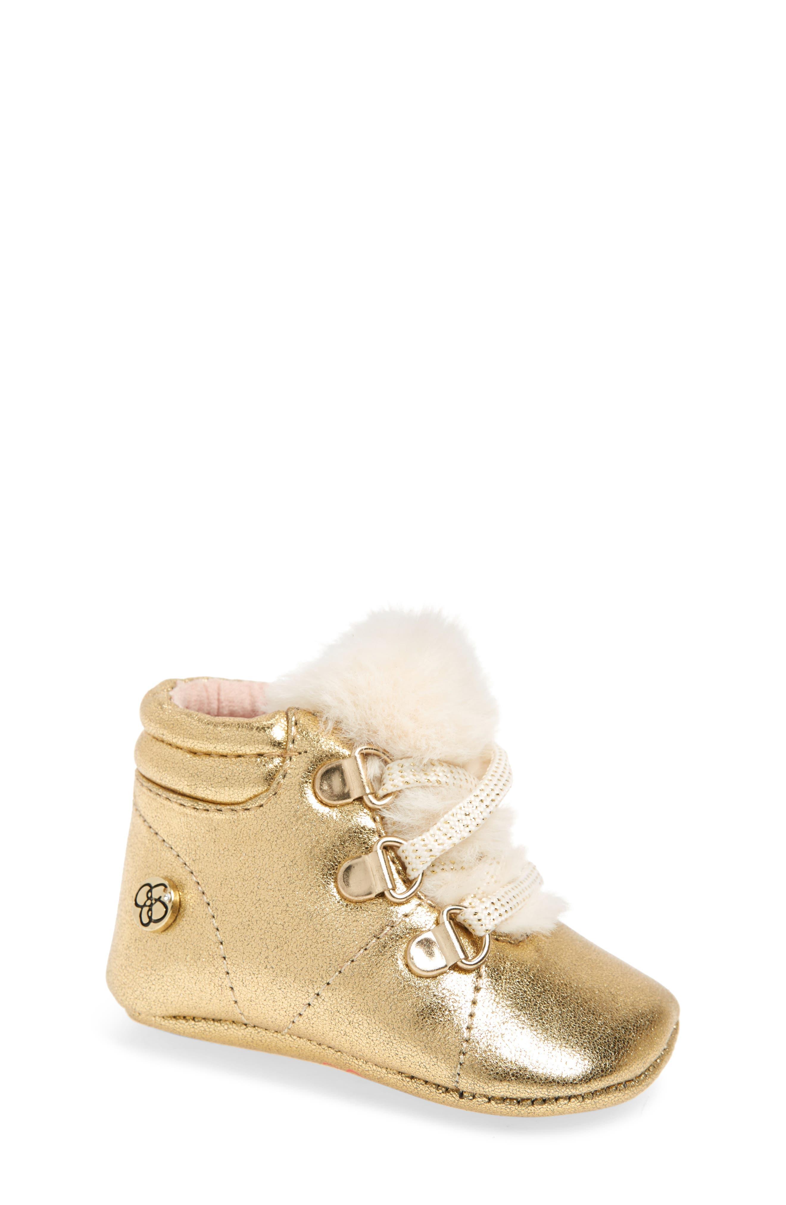 Faux Fur Metallic Crib Sneaker,                             Main thumbnail 1, color,                             GOLD CRACKLE METALLIC
