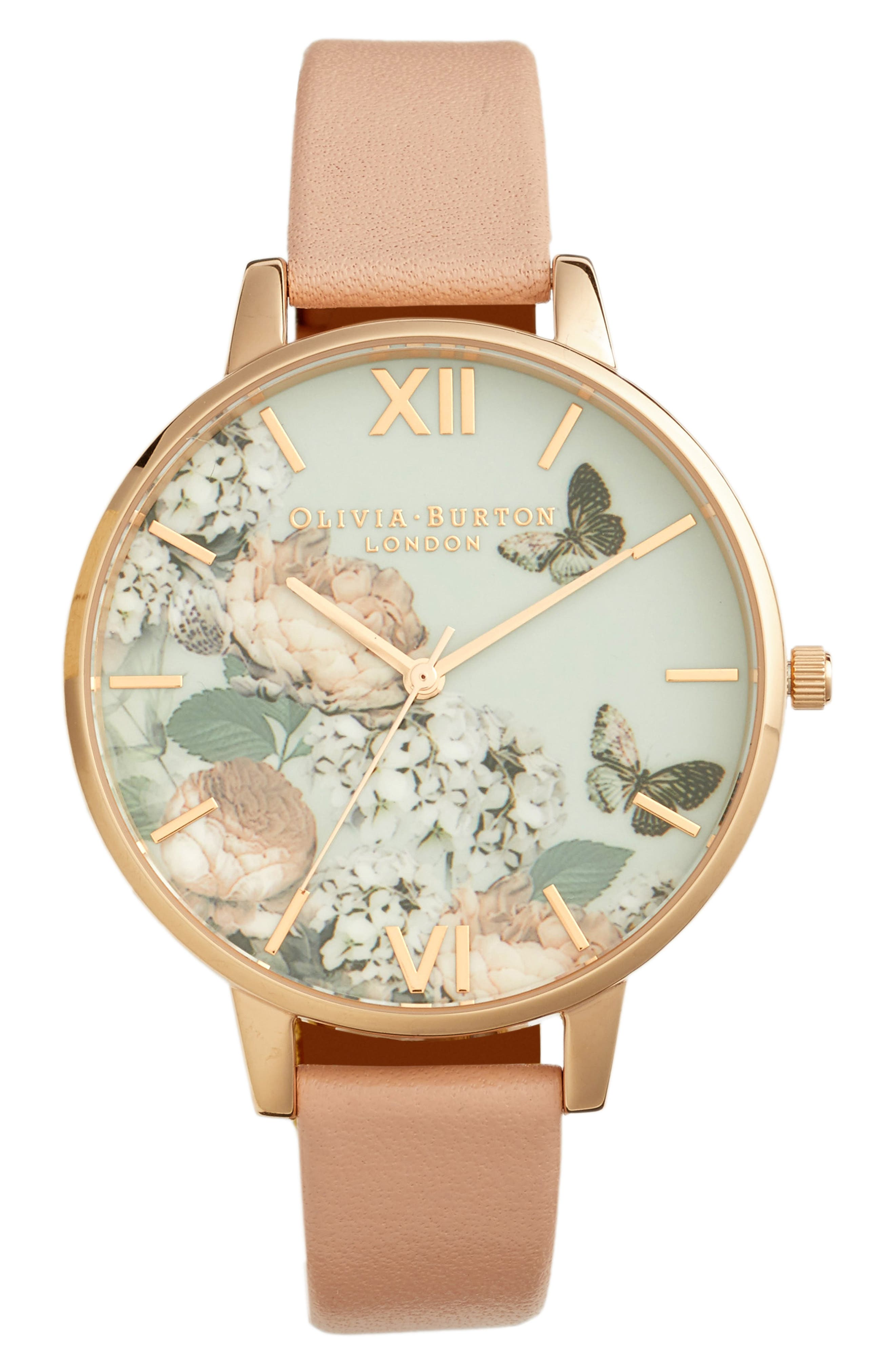 Pretty Blossom Leather Strap Watch, 38mm,                             Main thumbnail 1, color,                             BLOSSOM/ WHITE/ ROSE GOLD