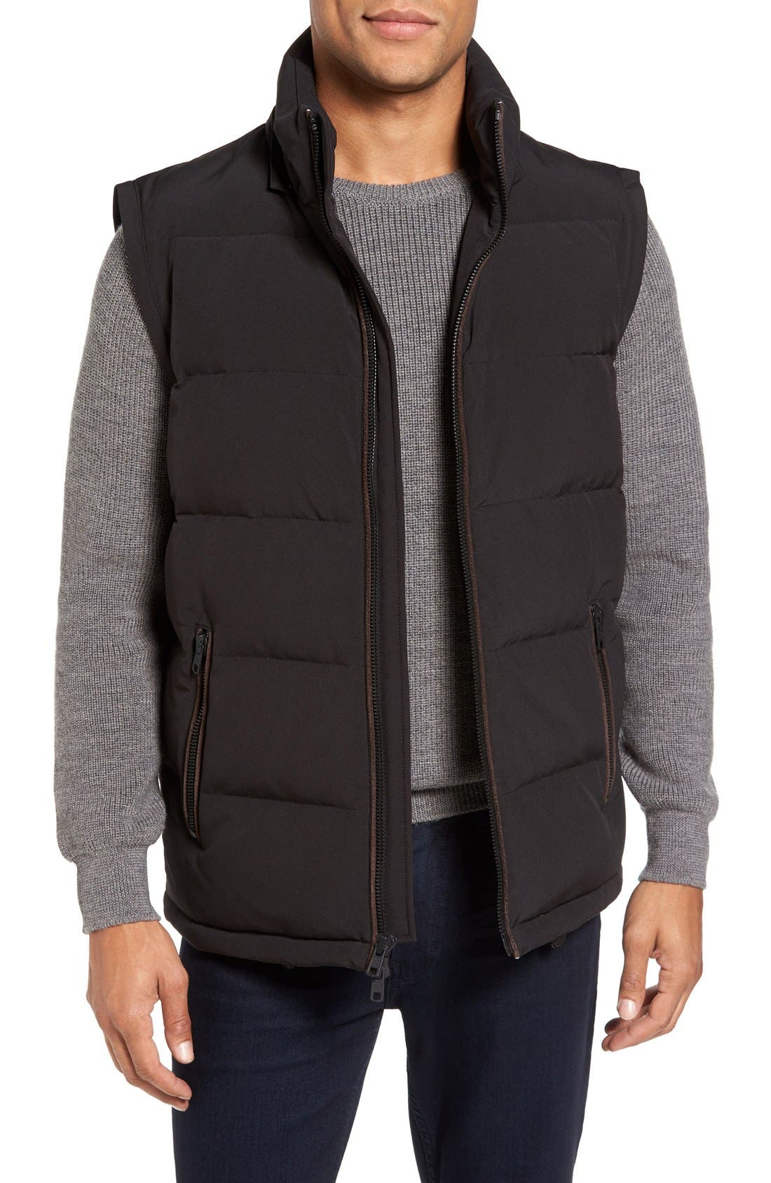Convertible Down & Feather Puffer Jacket,                             Alternate thumbnail 4, color,                             001