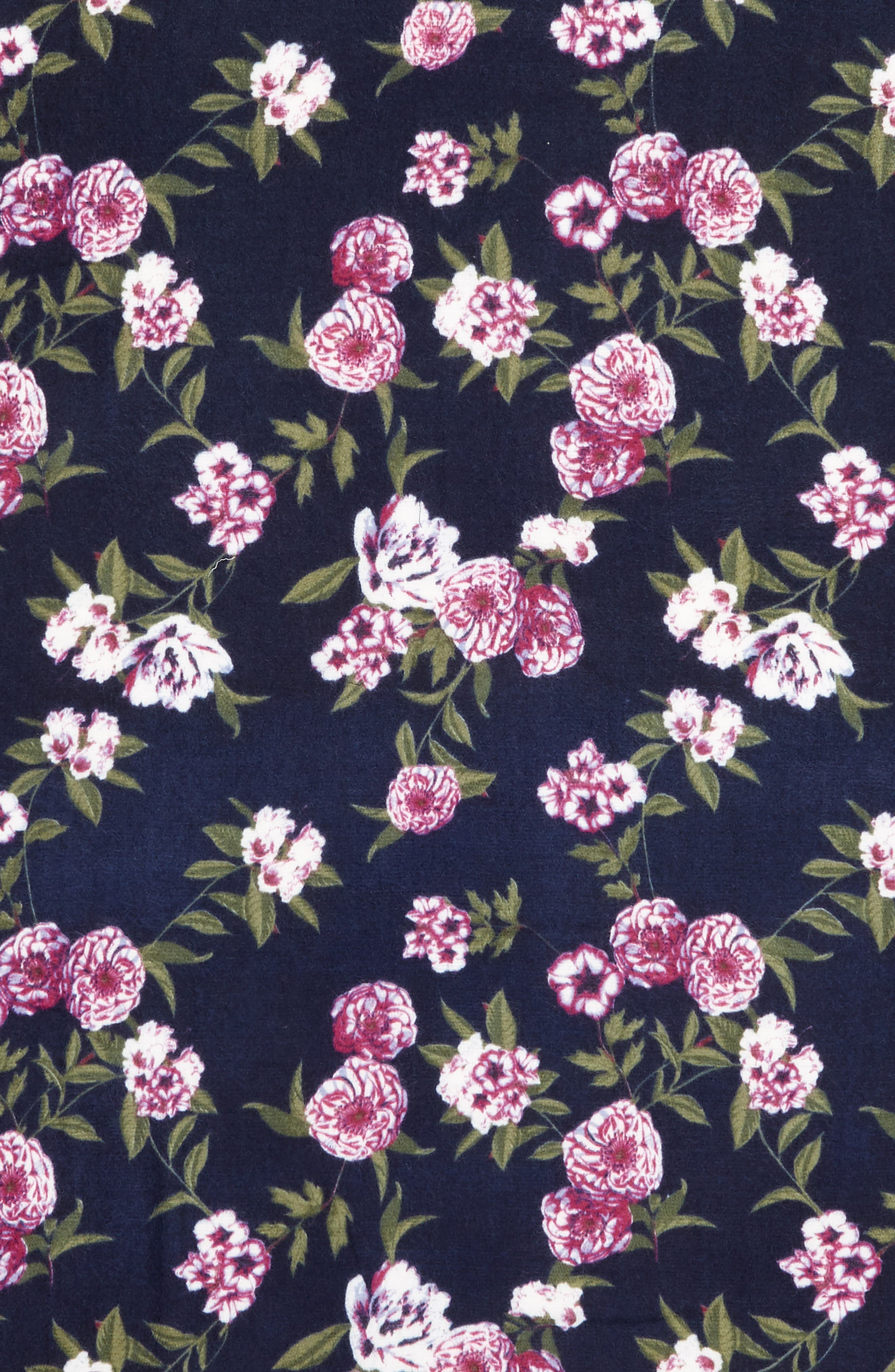 Floral Scarf,                             Alternate thumbnail 4, color,                             NAVY FOLK FLORAL