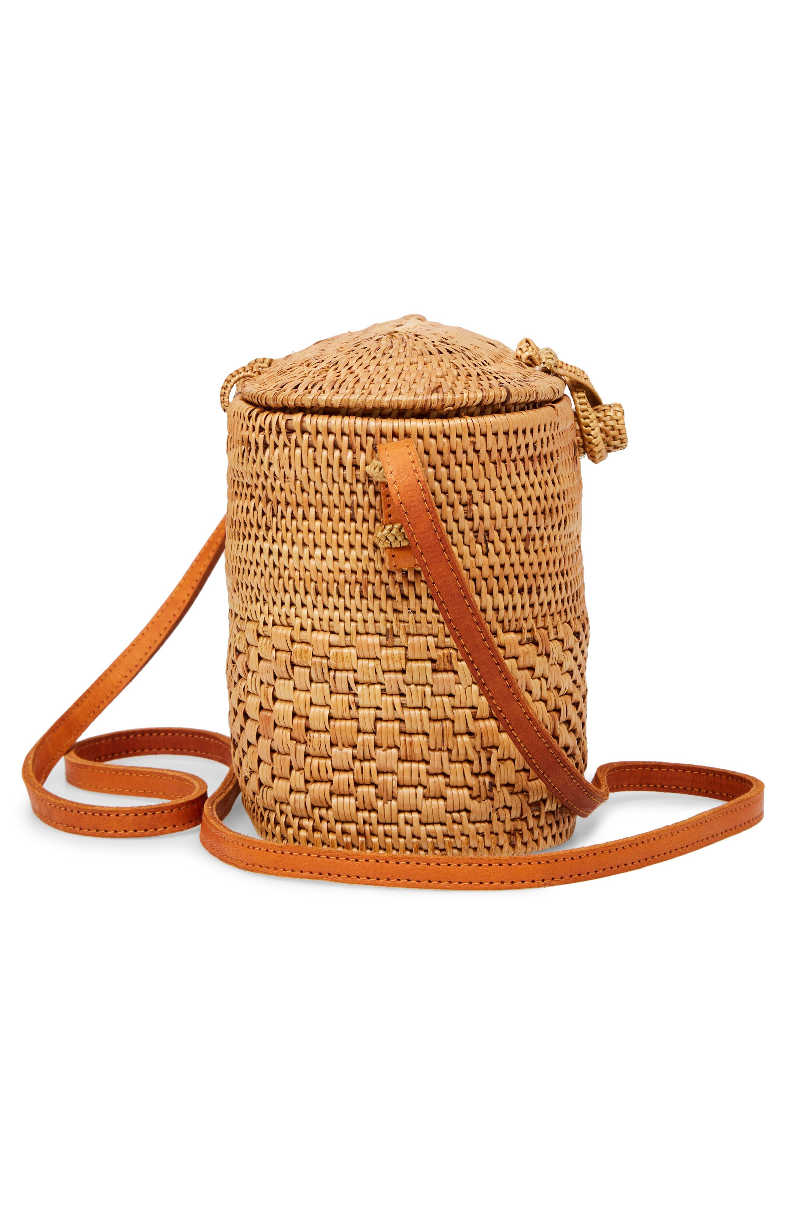 Woven Rattan Box Crossbody Bag,                             Alternate thumbnail 5, color,                             200