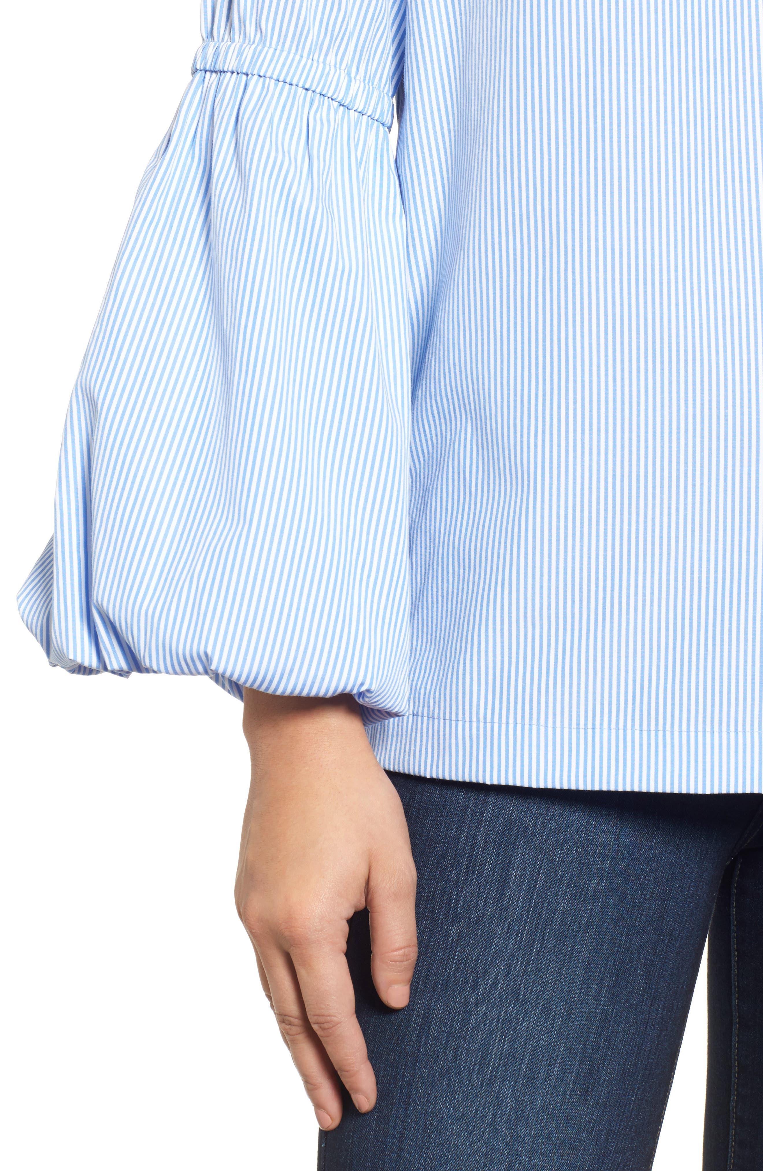 V-Neck Blouson Sleeve Top,                             Alternate thumbnail 4, color,                             400