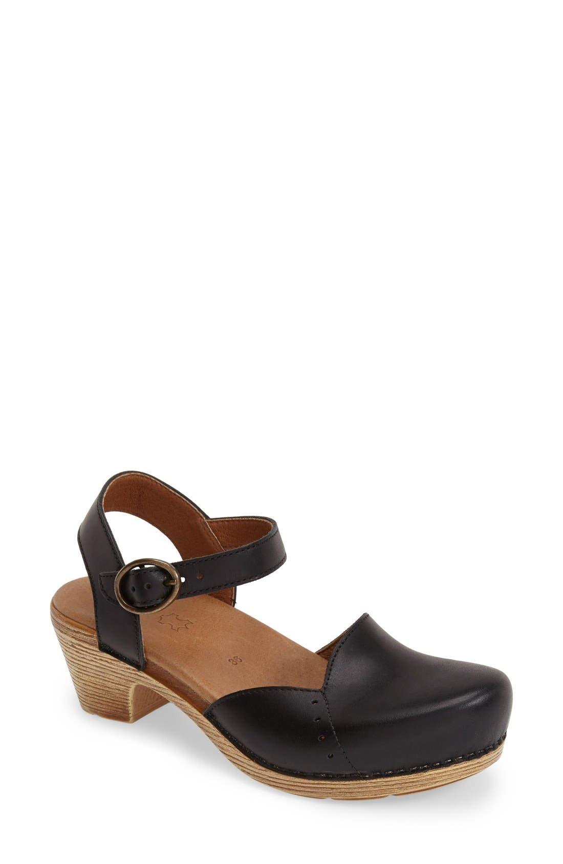 'Maisie' Ankle Strap Leather Pump,                             Main thumbnail 1, color,                             001