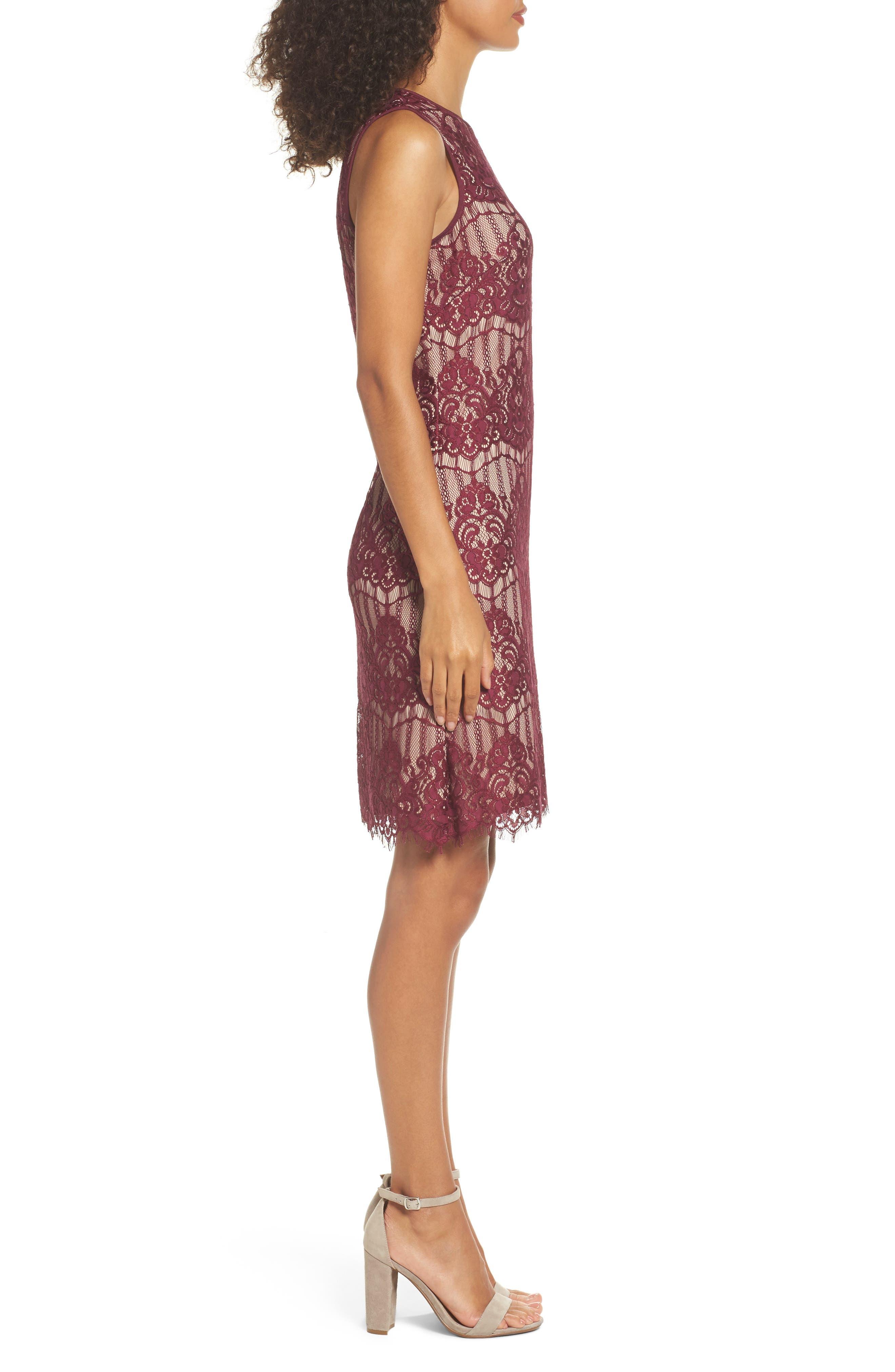 Scalloped Lace Sheath Dress,                             Alternate thumbnail 3, color,                             640