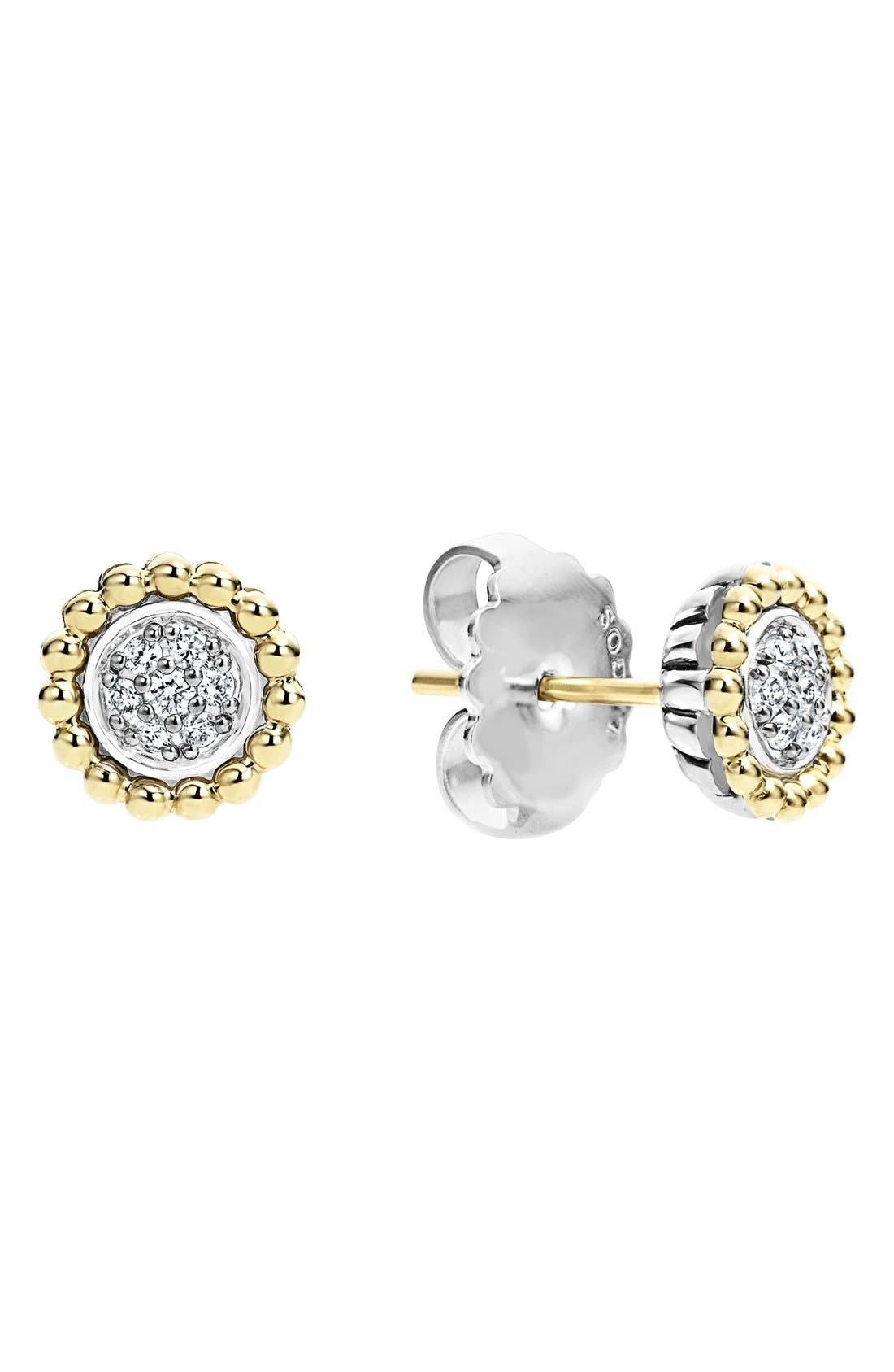 Diamond Caviar Stud Earrings,                             Alternate thumbnail 2, color,                             SILVER/ GOLD