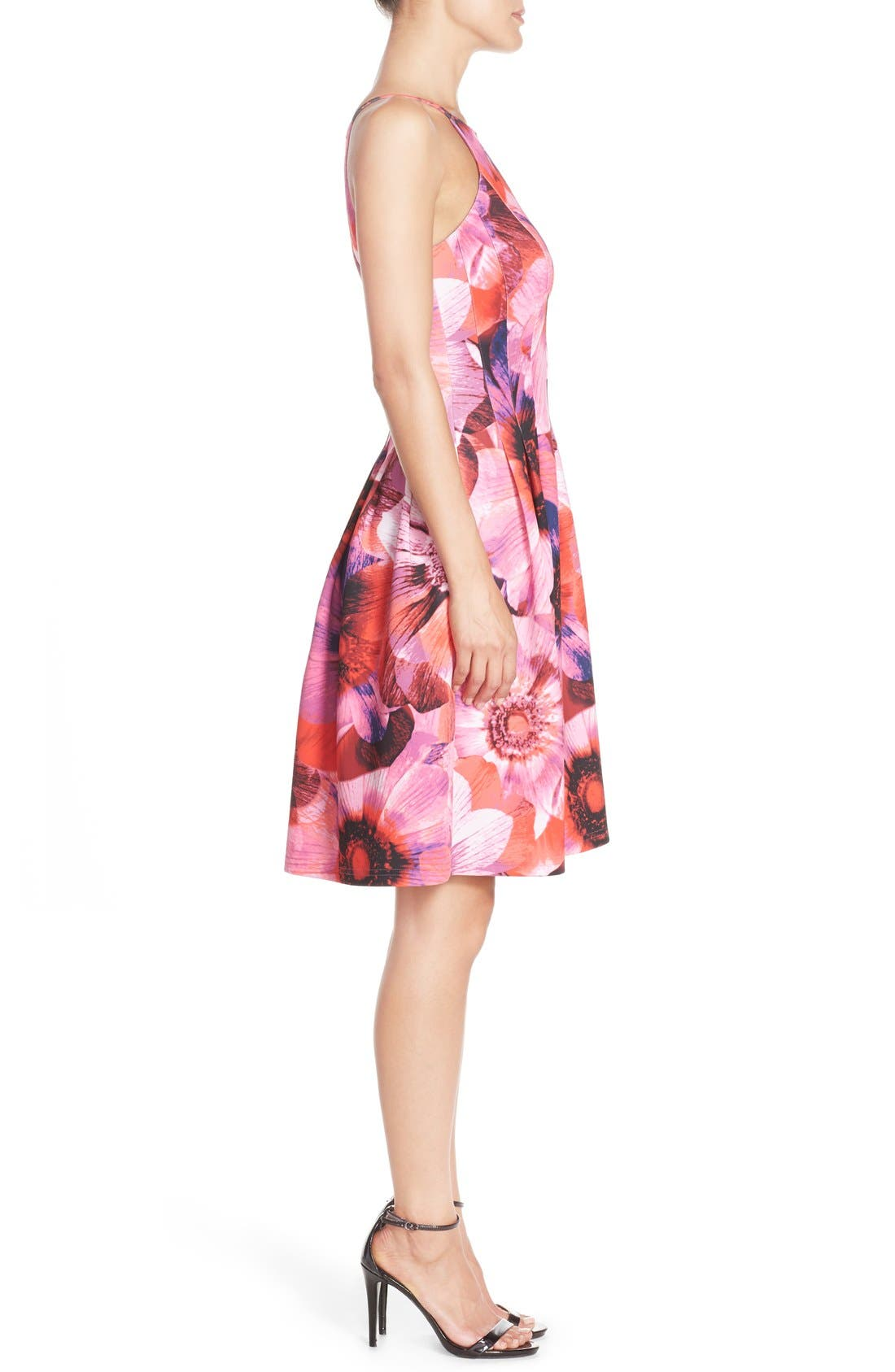Floral Print Pleated Scuba Fit & Flare Dress,                             Alternate thumbnail 2, color,                             688