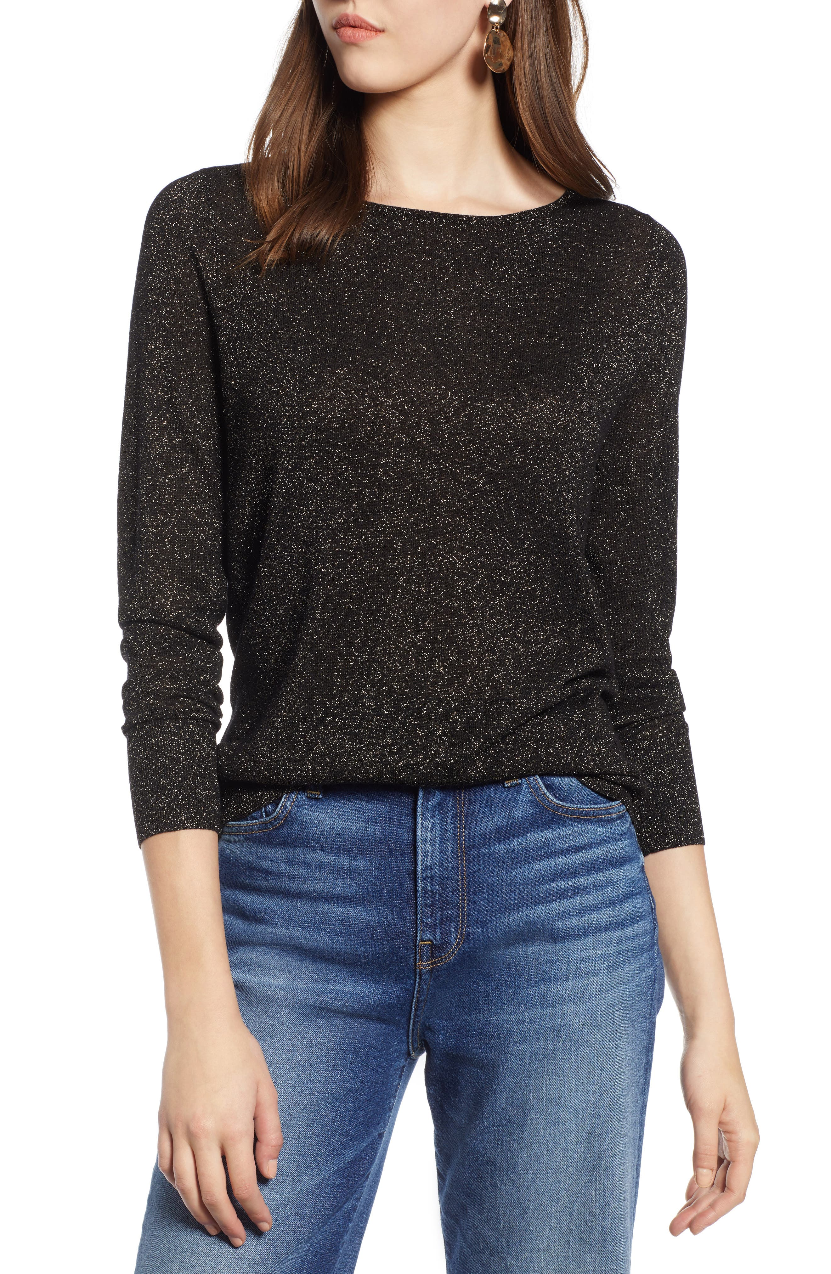 Tie Back Shimmer Sweater,                             Main thumbnail 1, color,                             BLACK