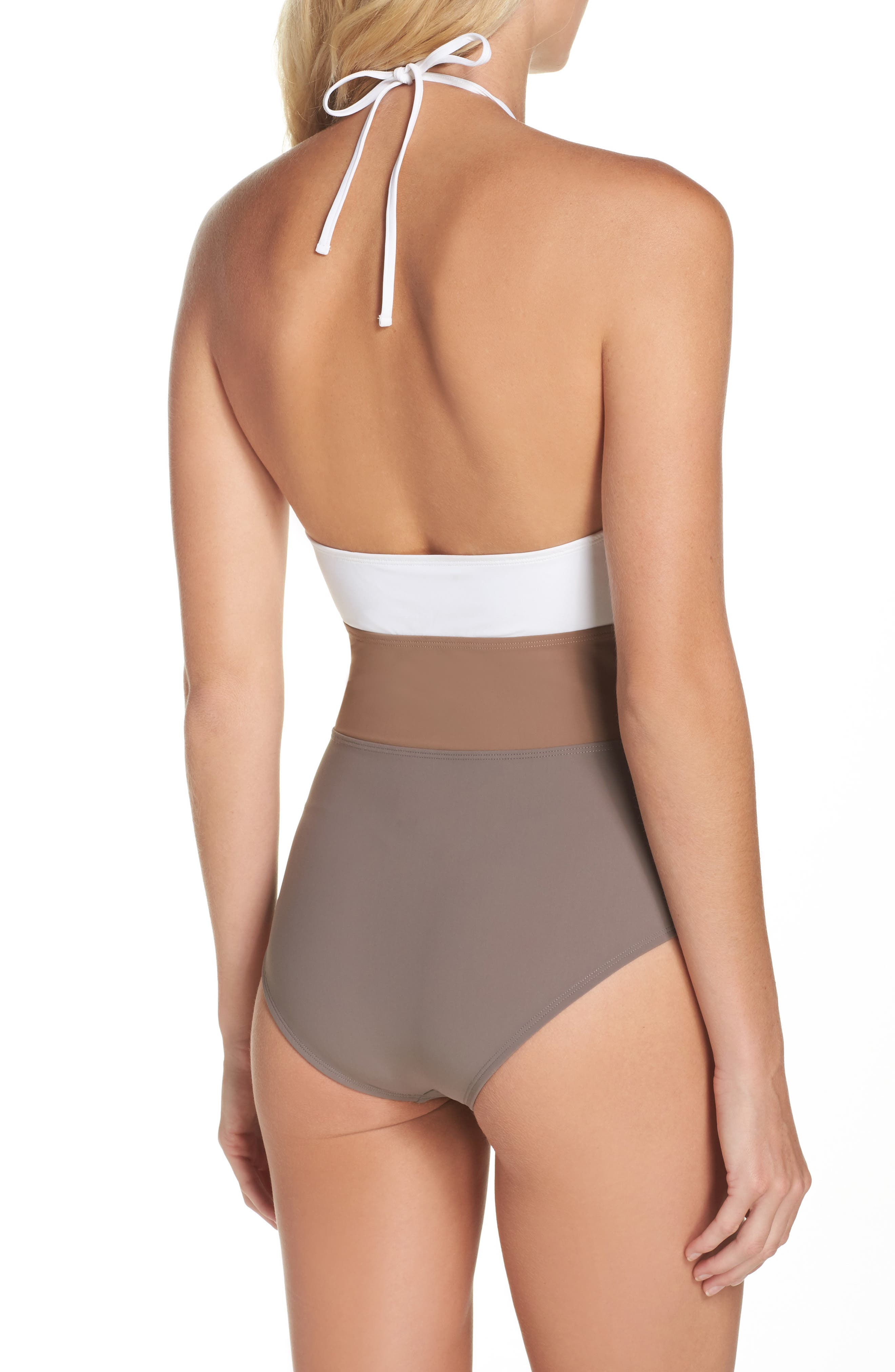 Halter One-Piece Swimsuit,                             Alternate thumbnail 2, color,                             100