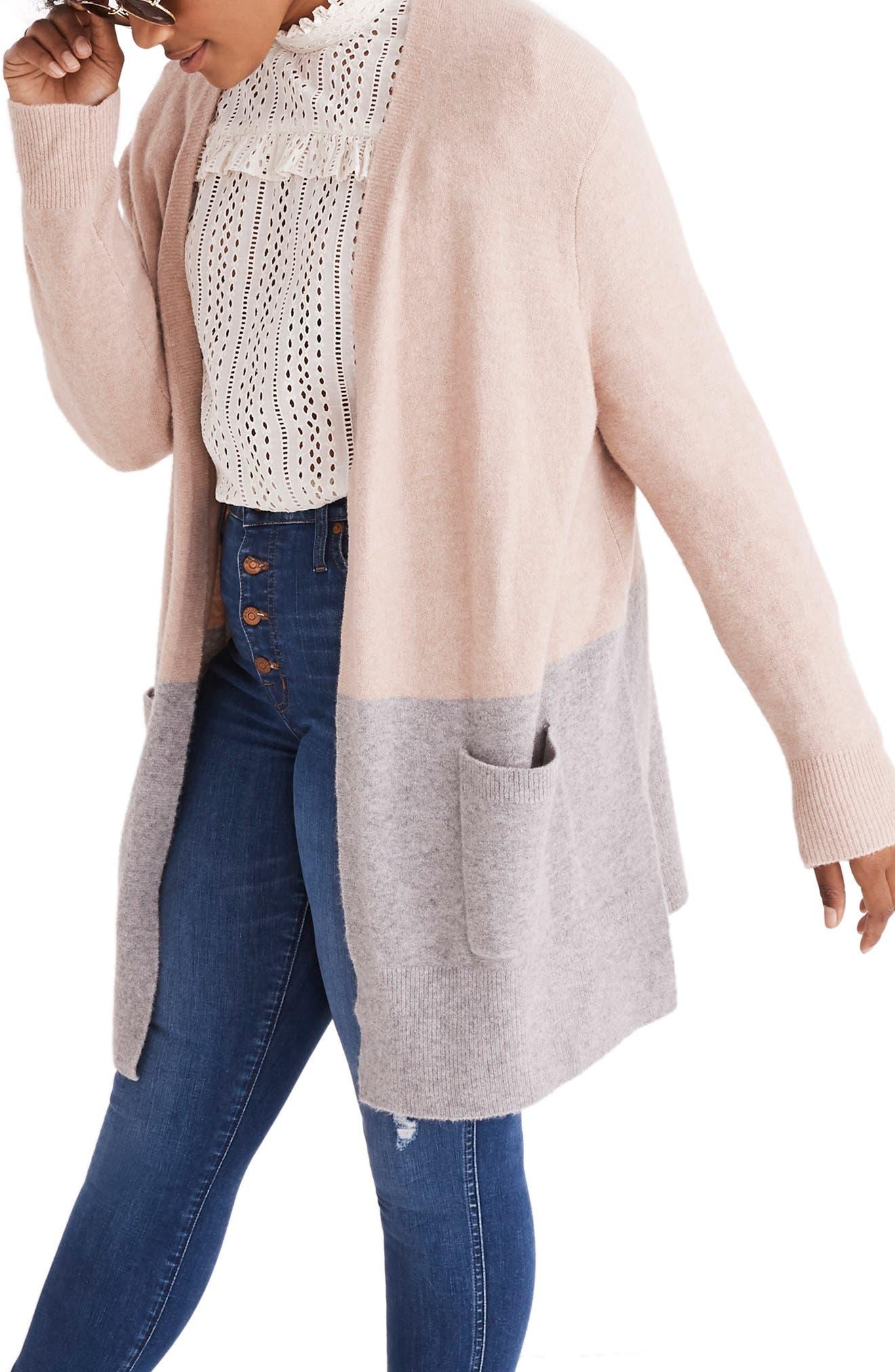 Kent Colorblock Cardigan Sweater,                             Alternate thumbnail 2, color,                             HEATHER BEIGE