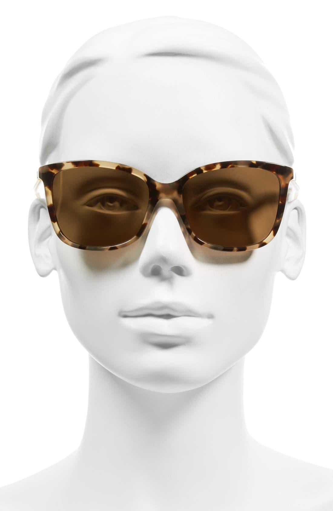 'kasie' 55mm polarized sunglasses,                             Alternate thumbnail 2, color,                             HAVANA/ HONEY