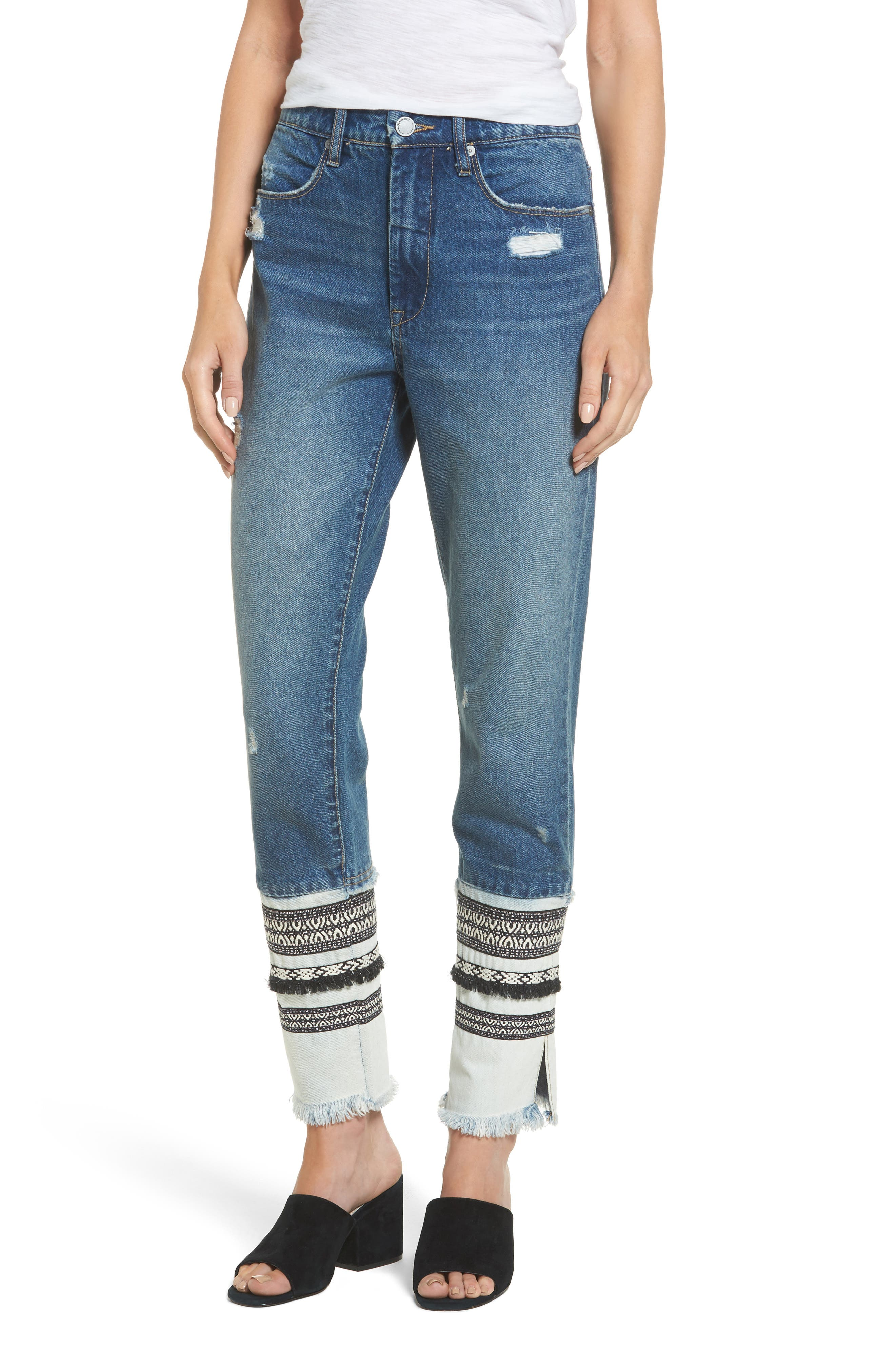 Embellished Straight Leg Jeans,                             Main thumbnail 1, color,