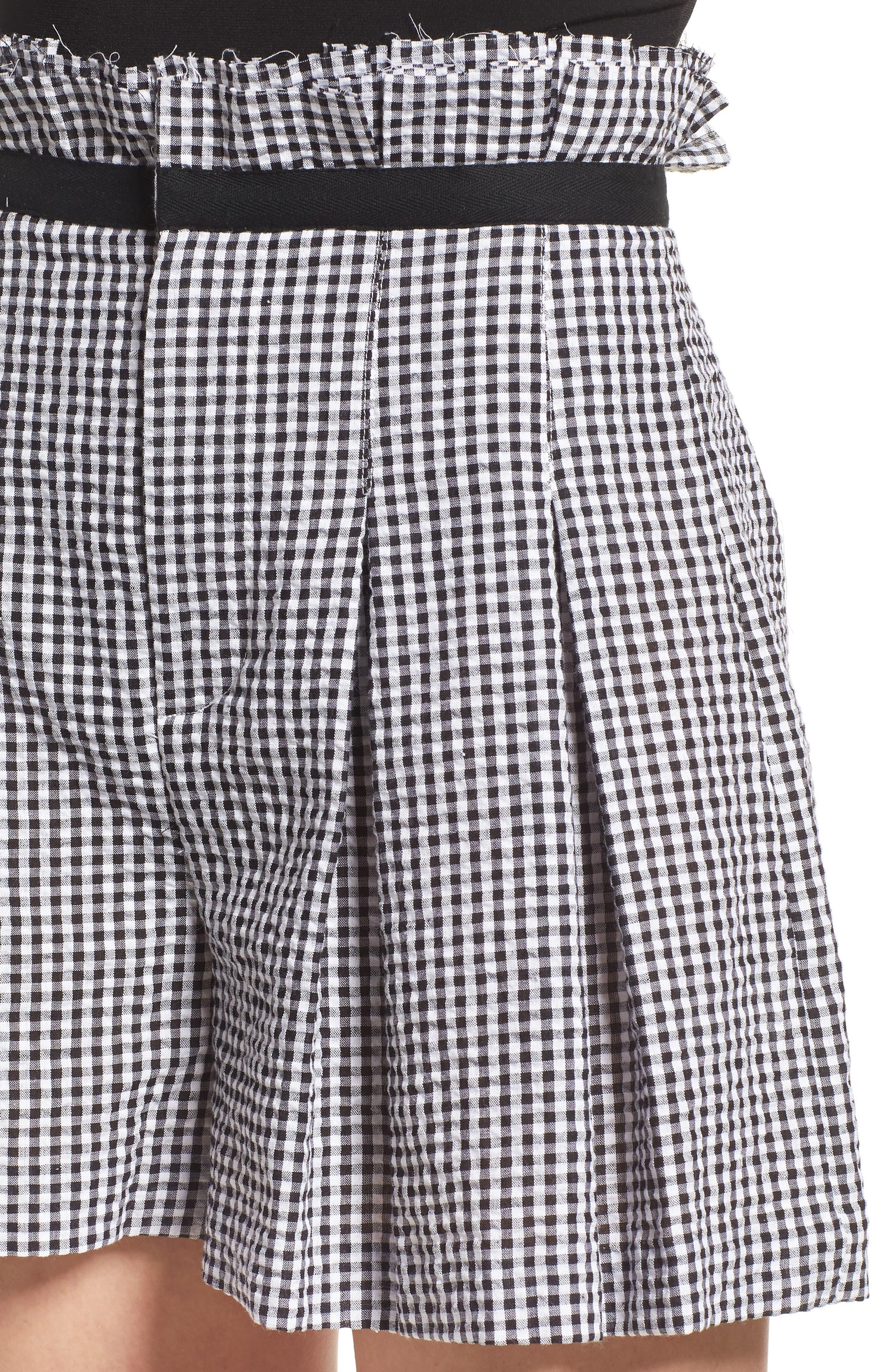 Gingham Paperbag Shorts,                             Alternate thumbnail 4, color,