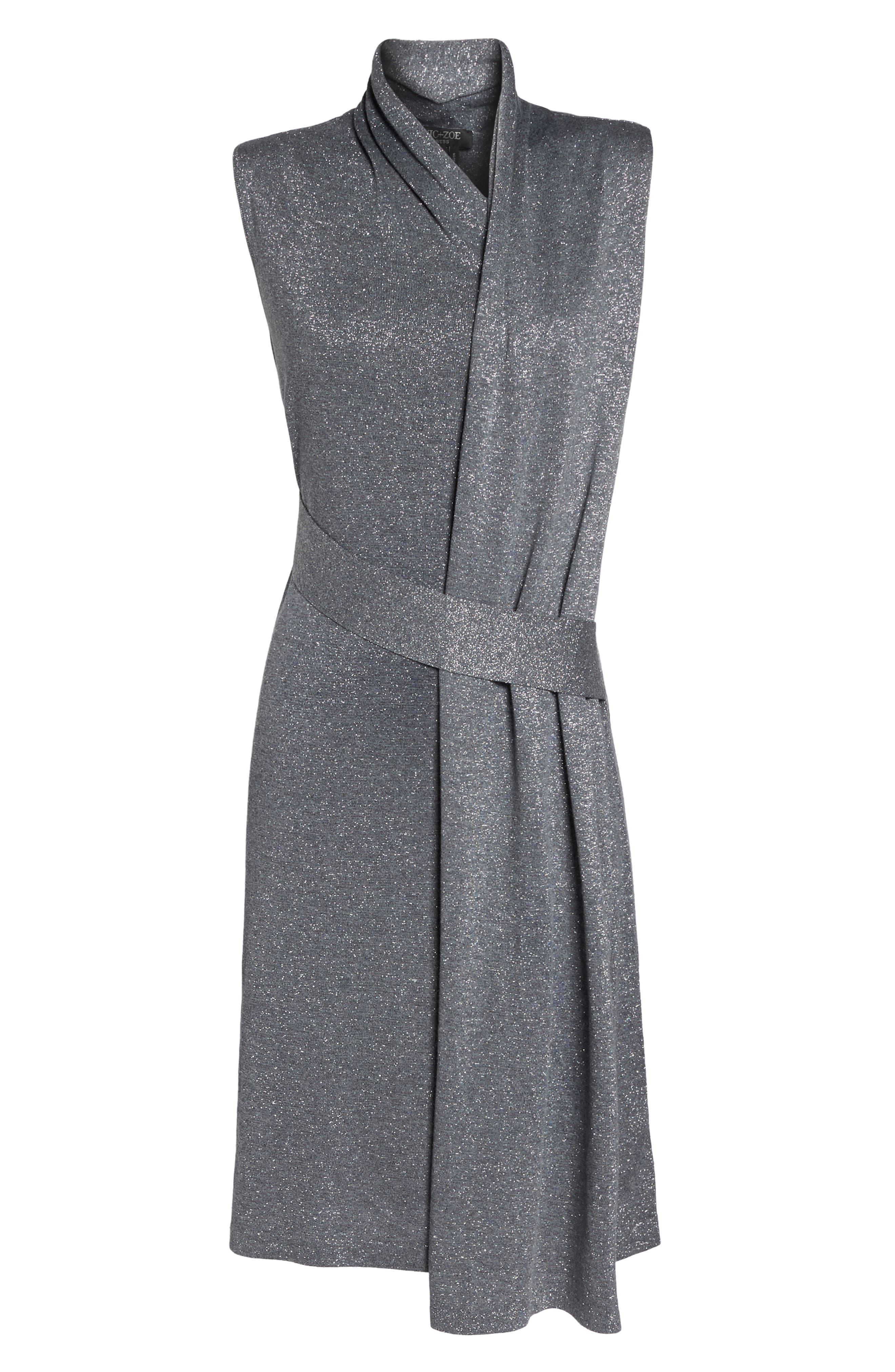 Draped Faux Wrap Dress,                             Alternate thumbnail 6, color,                             030