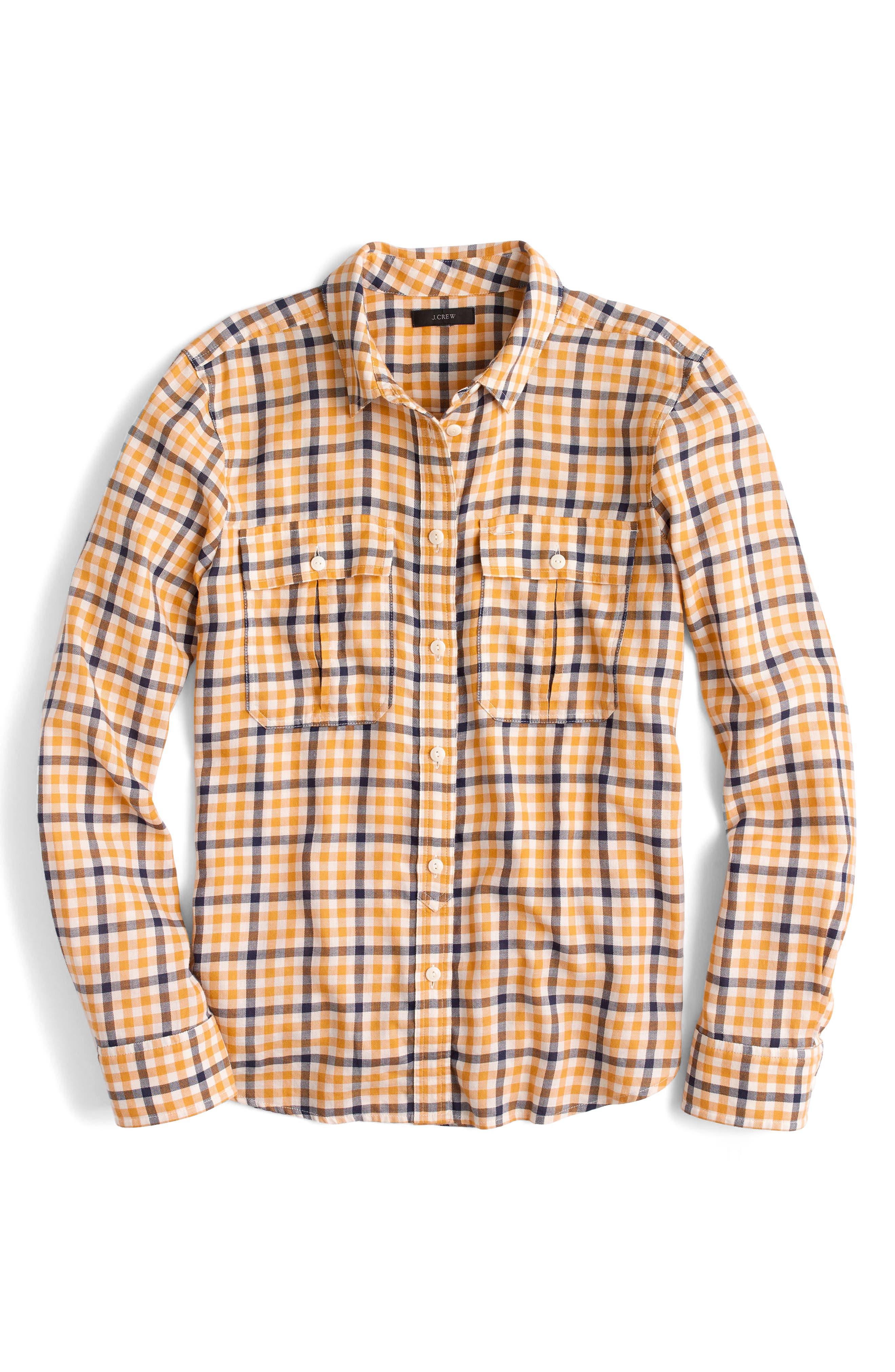 Topaz Plaid Boyfriend Shirt,                             Alternate thumbnail 3, color,                             709