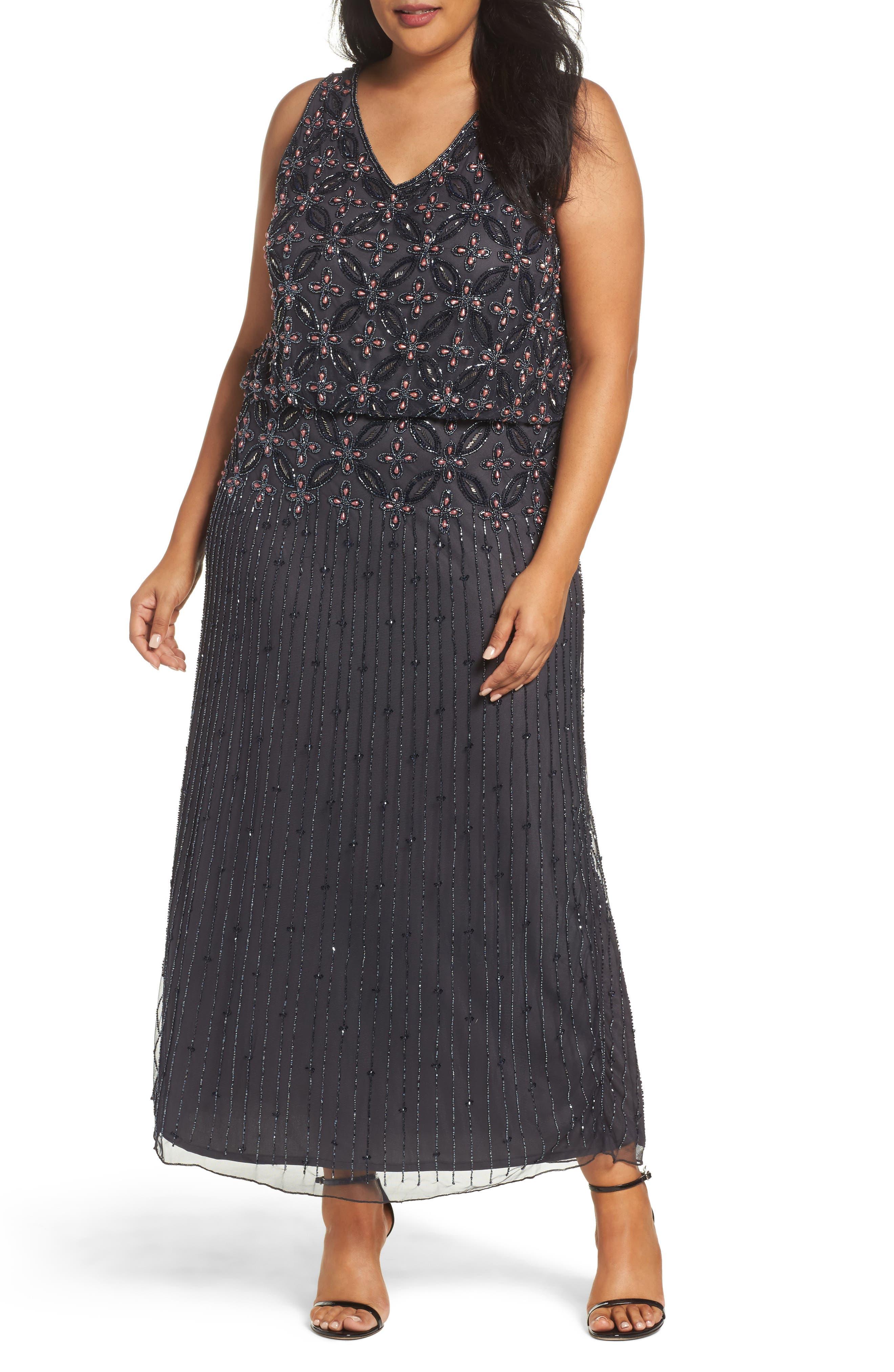 Beaded Blouson Gown,                         Main,                         color,