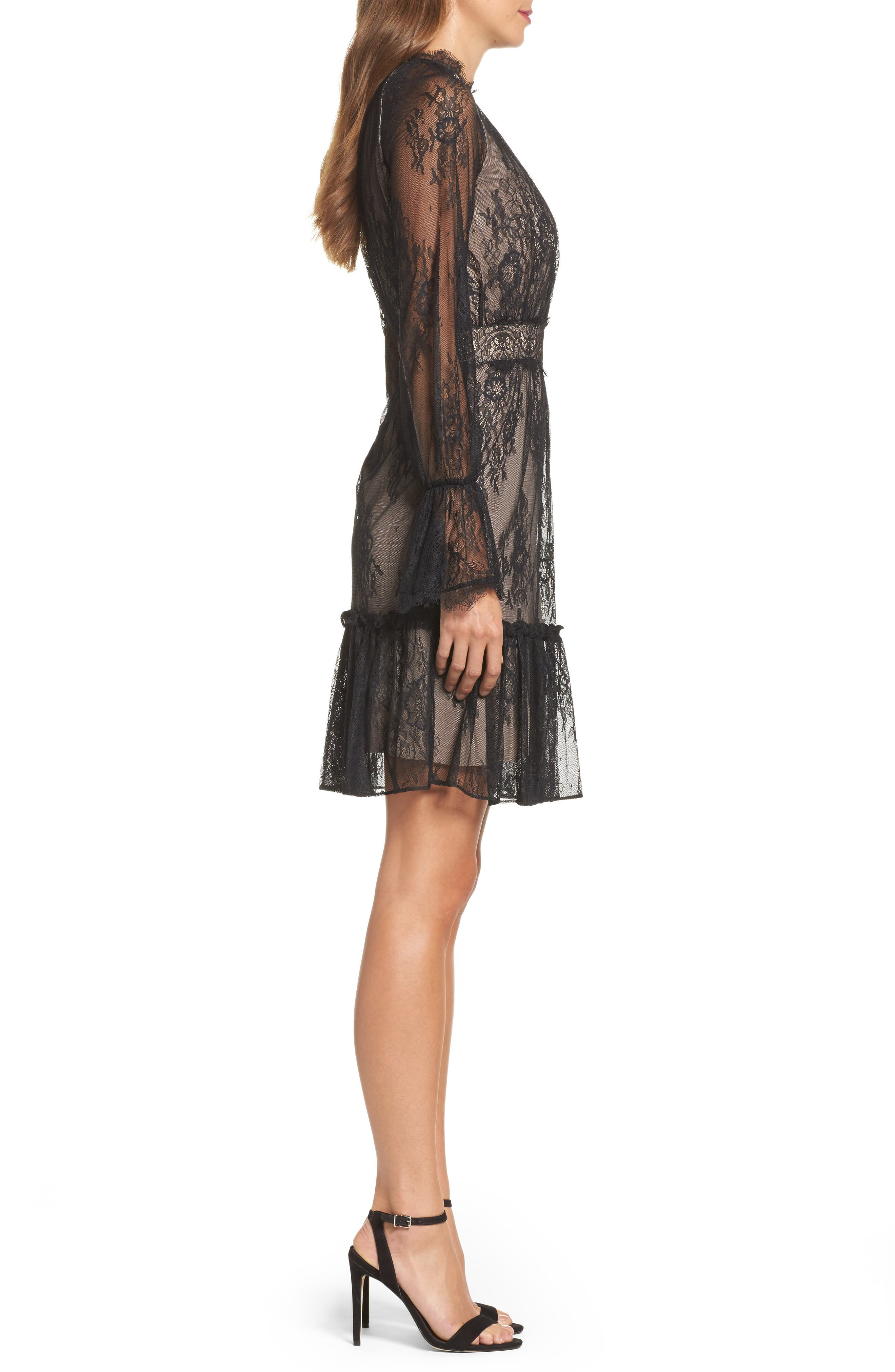 Floral Medallion Lace Fit & Flare Dress,                             Alternate thumbnail 3, color,                             010