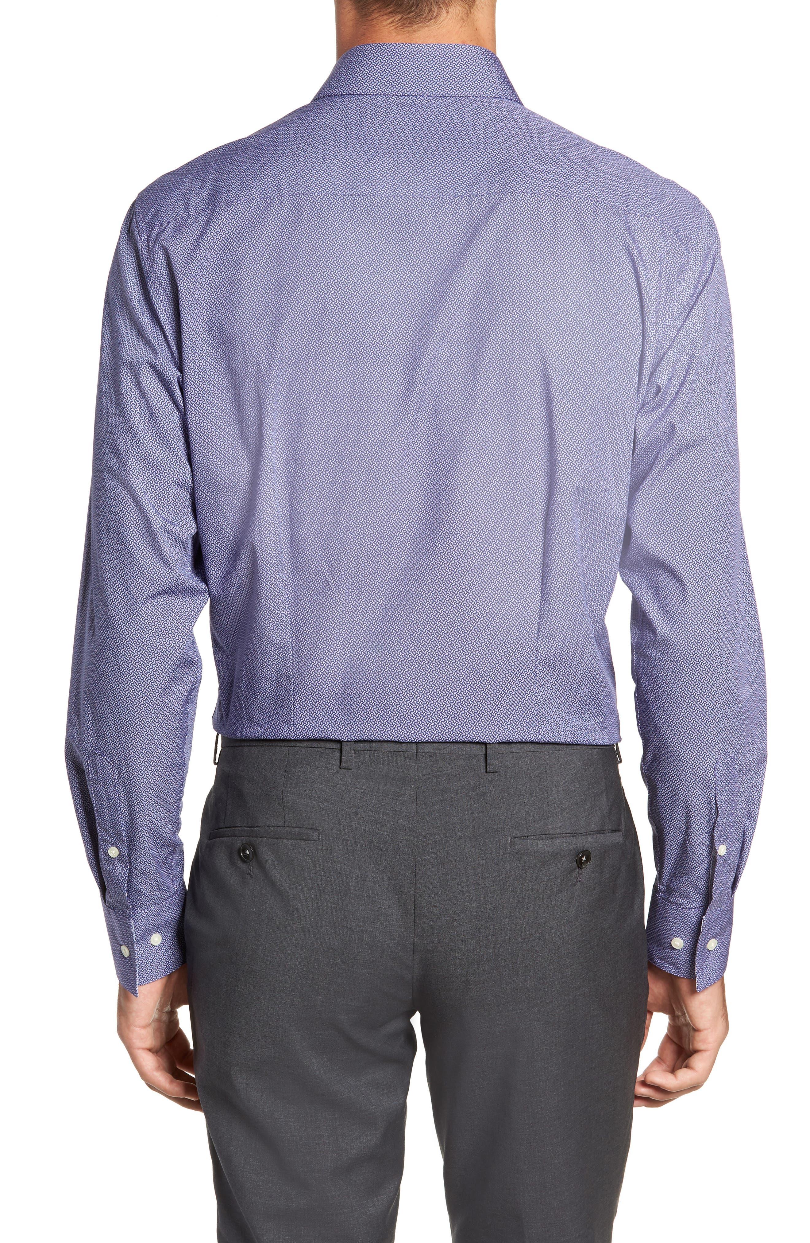 Strame Slim Fit Geometric Dress Shirt,                             Alternate thumbnail 3, color,                             510