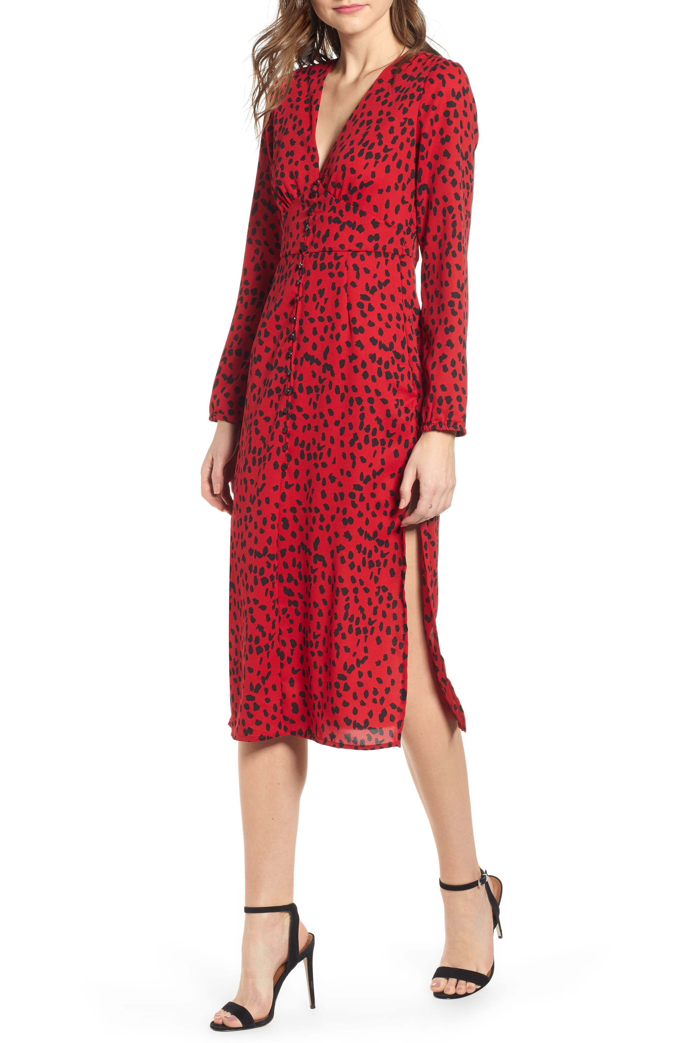 Leith Animal Print Midi Dress, Red