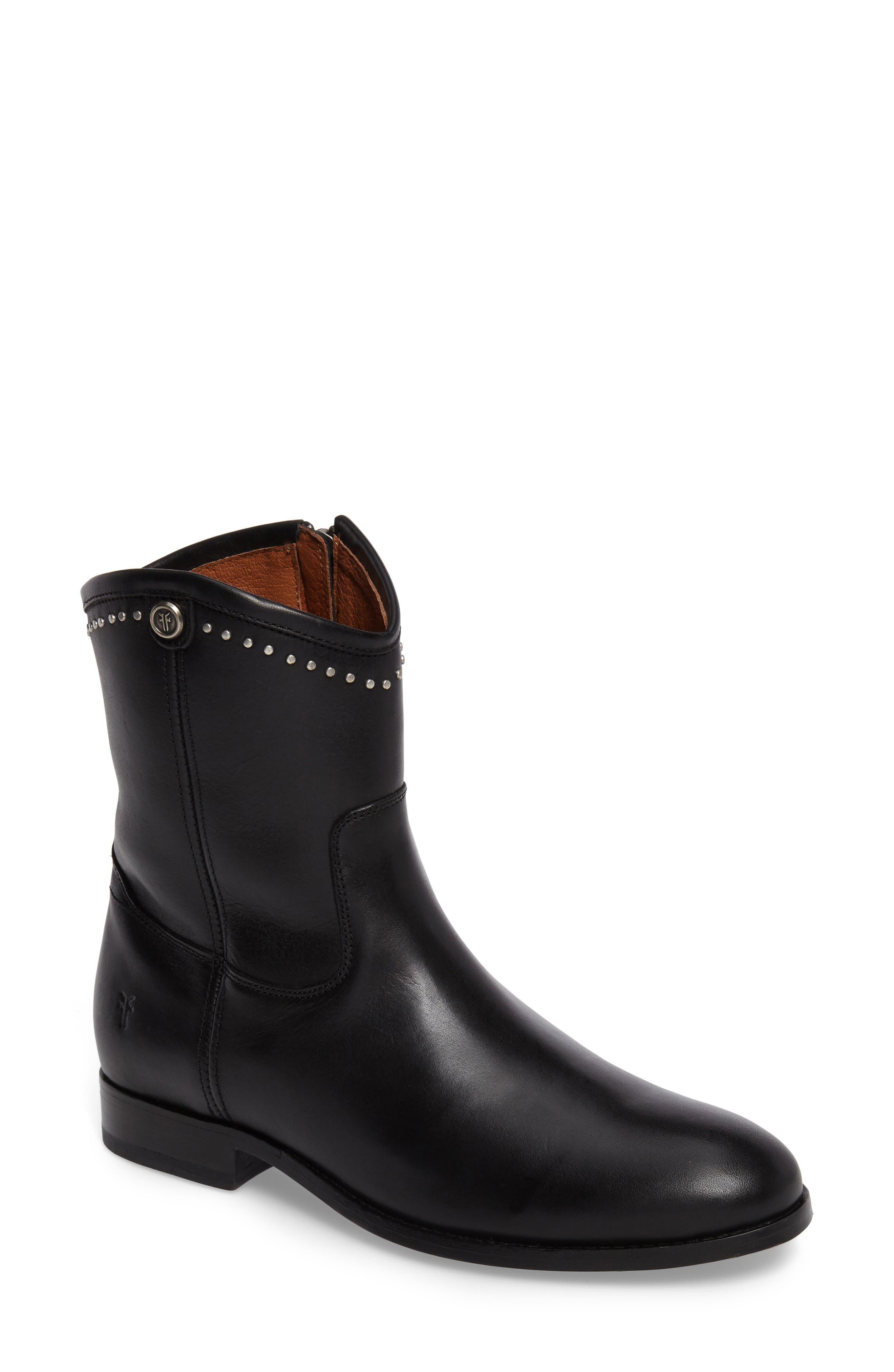 Melissa Stud Short Boot,                         Main,                         color, BLACK