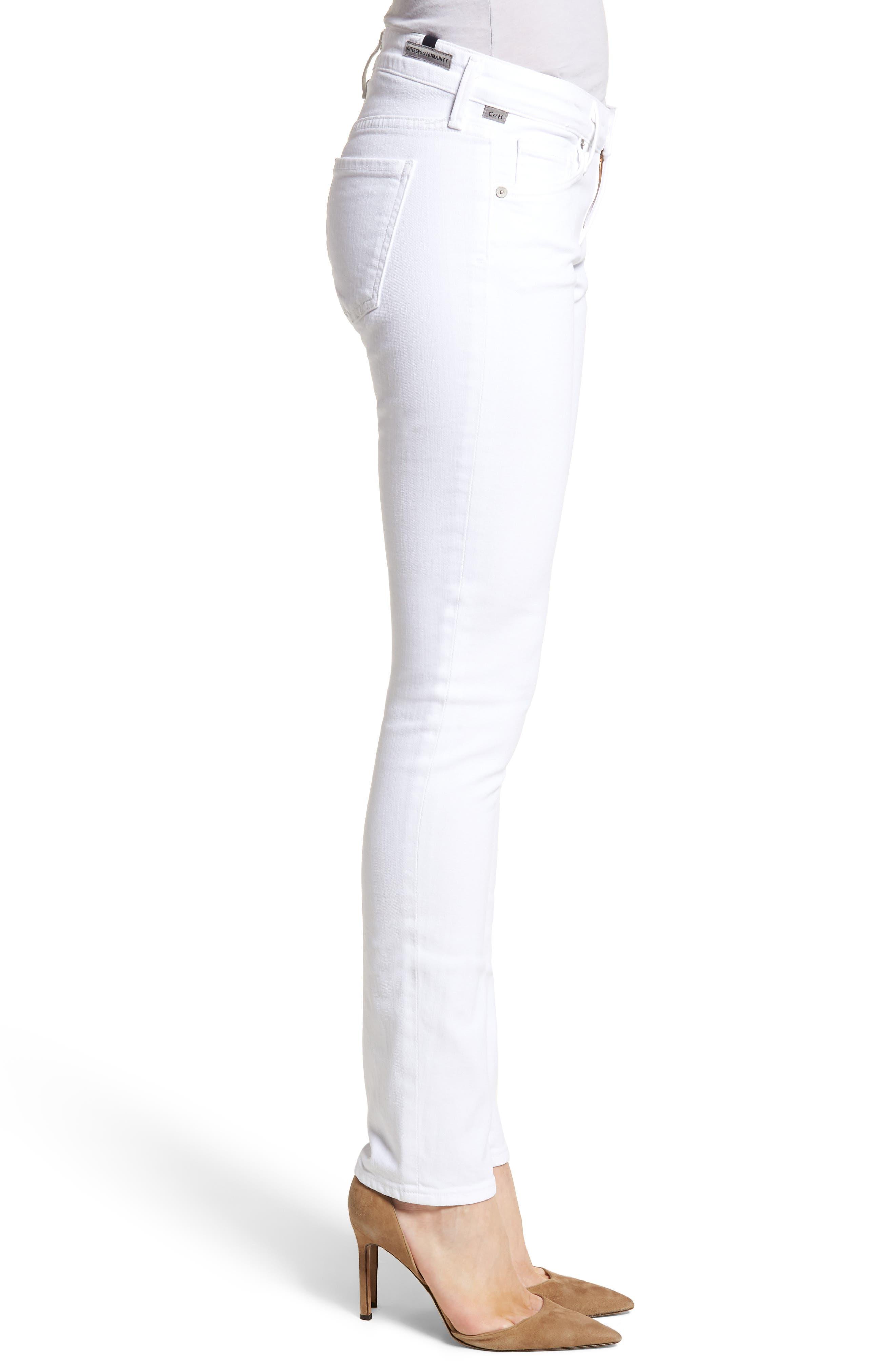 Racer Skinny Jeans,                             Alternate thumbnail 3, color,                             OPTIC WHITE