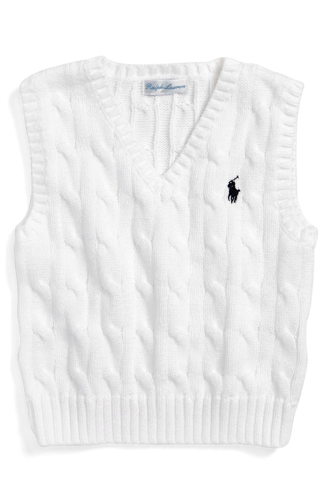 Cable Knit Cotton Sweater Vest,                             Main thumbnail 1, color,                             100