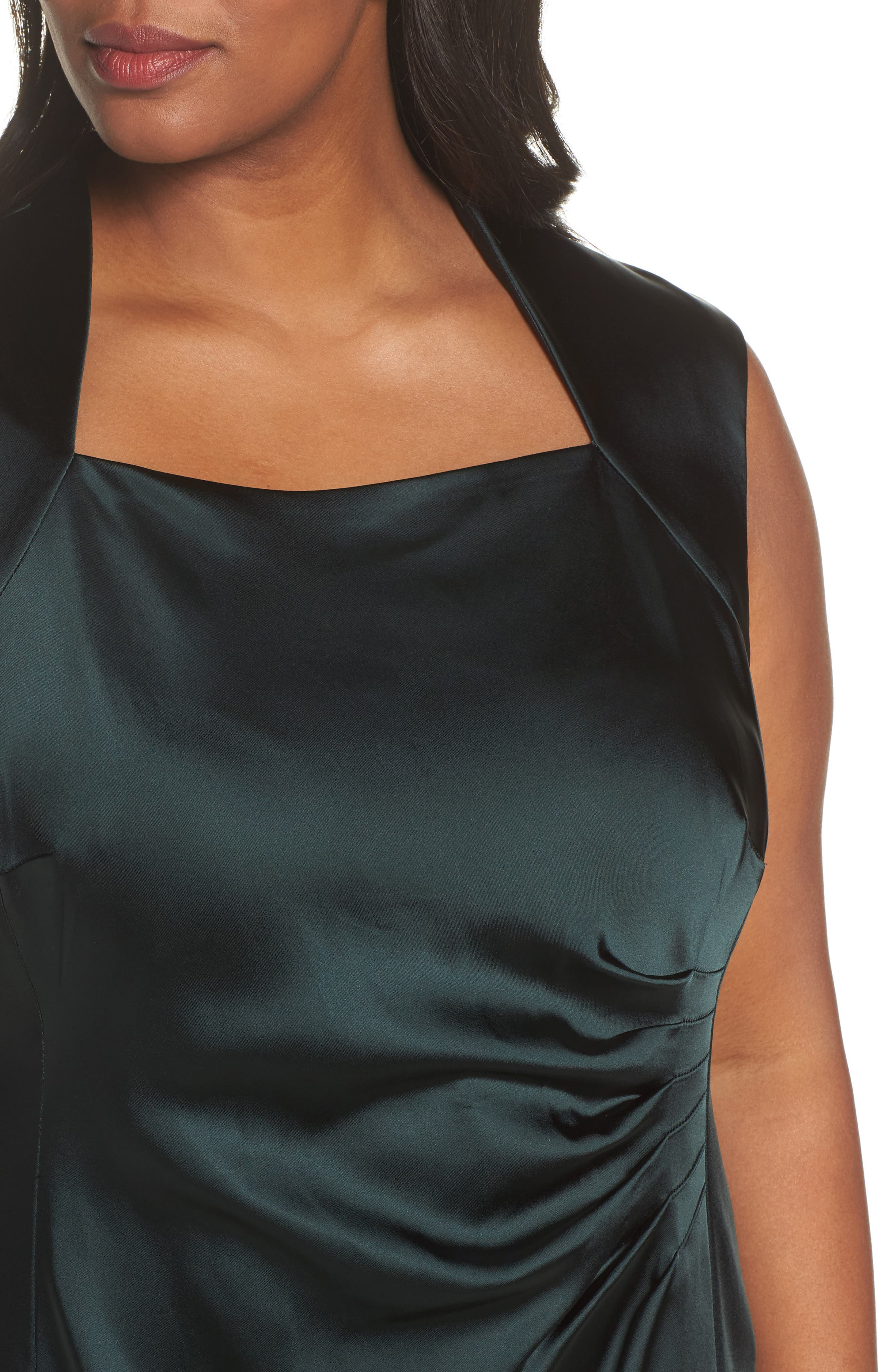 Side Pleat Satin Sheath Dress,                             Alternate thumbnail 4, color,                             384