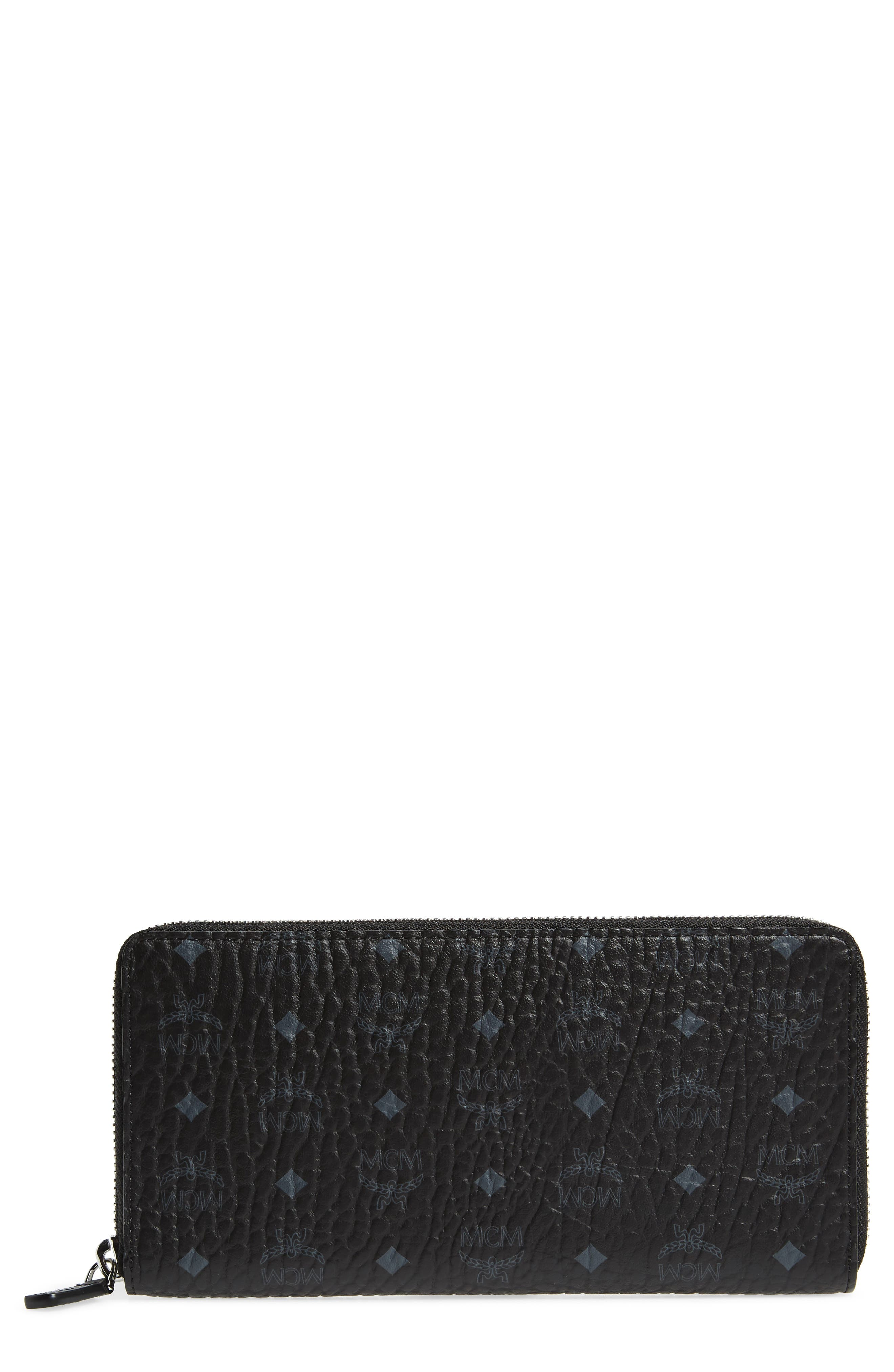 Visetos Original Zip Around Coated Canvas Wallet,                             Main thumbnail 1, color,                             BLACK