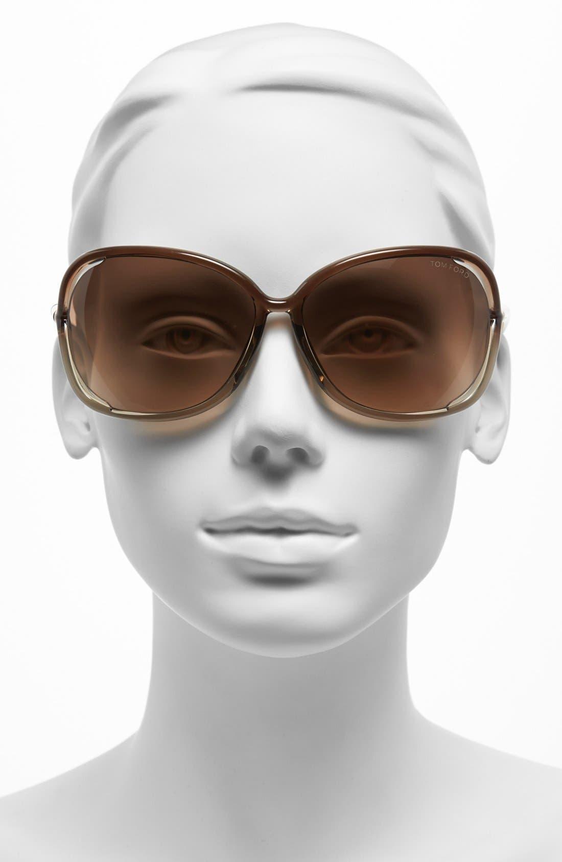'Raquel' 63mm Oversized Open Side Sunglasses,                             Alternate thumbnail 2, color,                             TRANSPARENT BRONZE