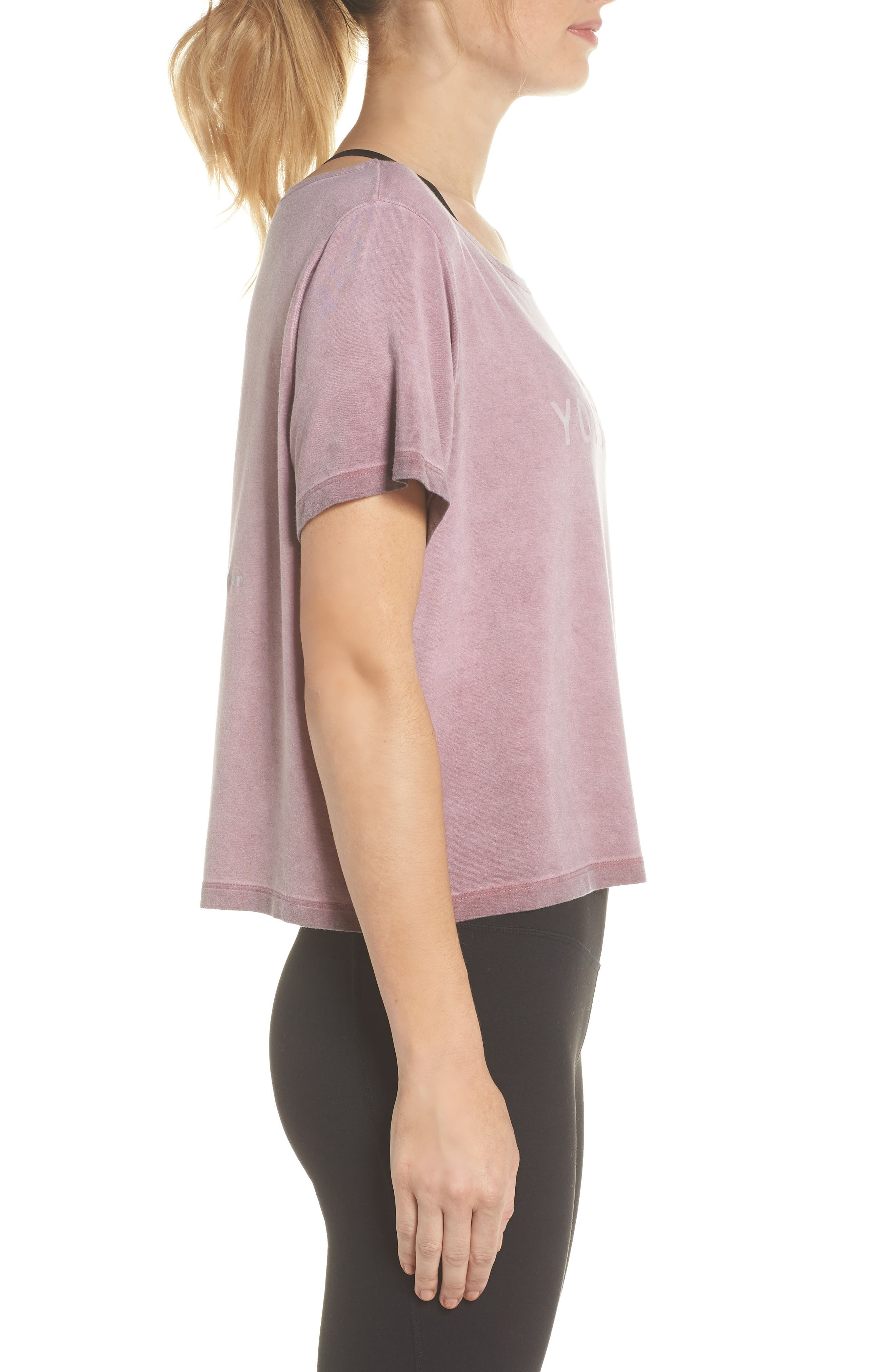Payton Love Yourself Crop Tee,                             Alternate thumbnail 3, color,                             ROSEWOOD OIL WASH