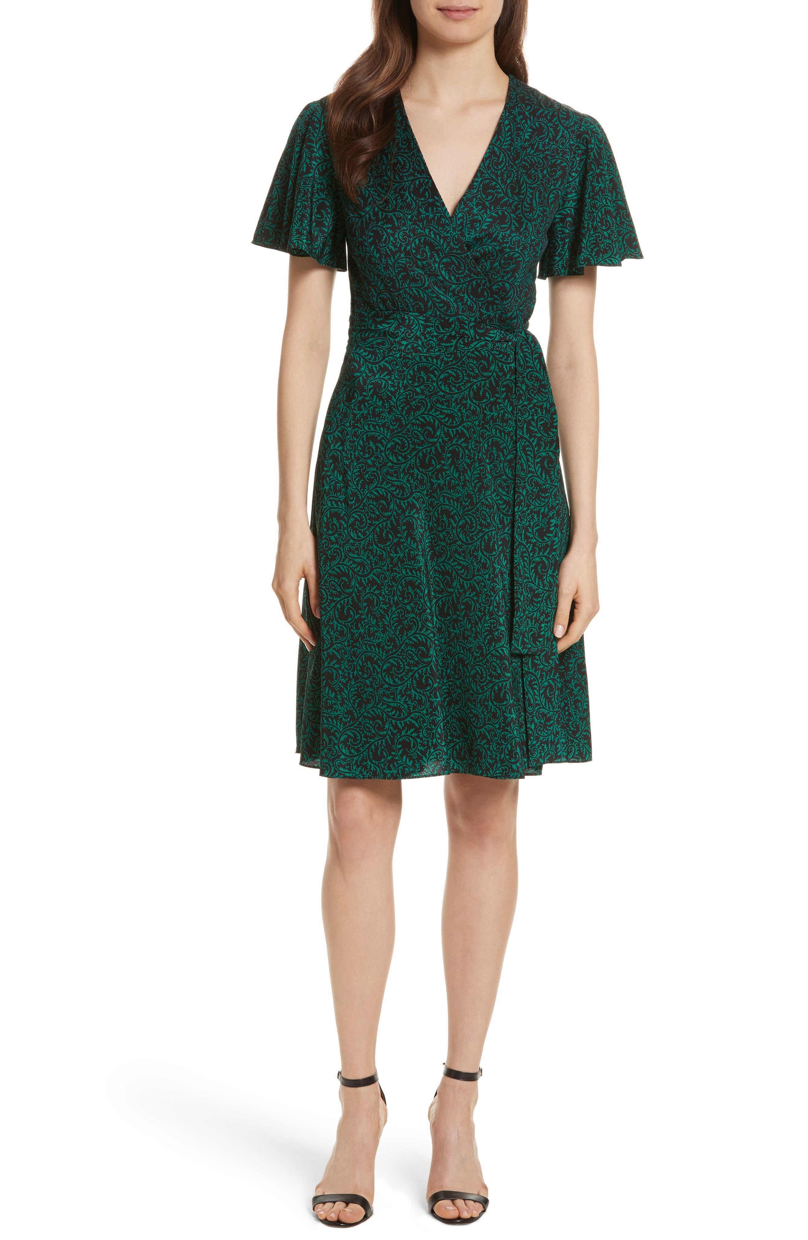 Diane von Furstenberg Flutter Sleeve Silk Wrap Dress,                             Main thumbnail 3, color,