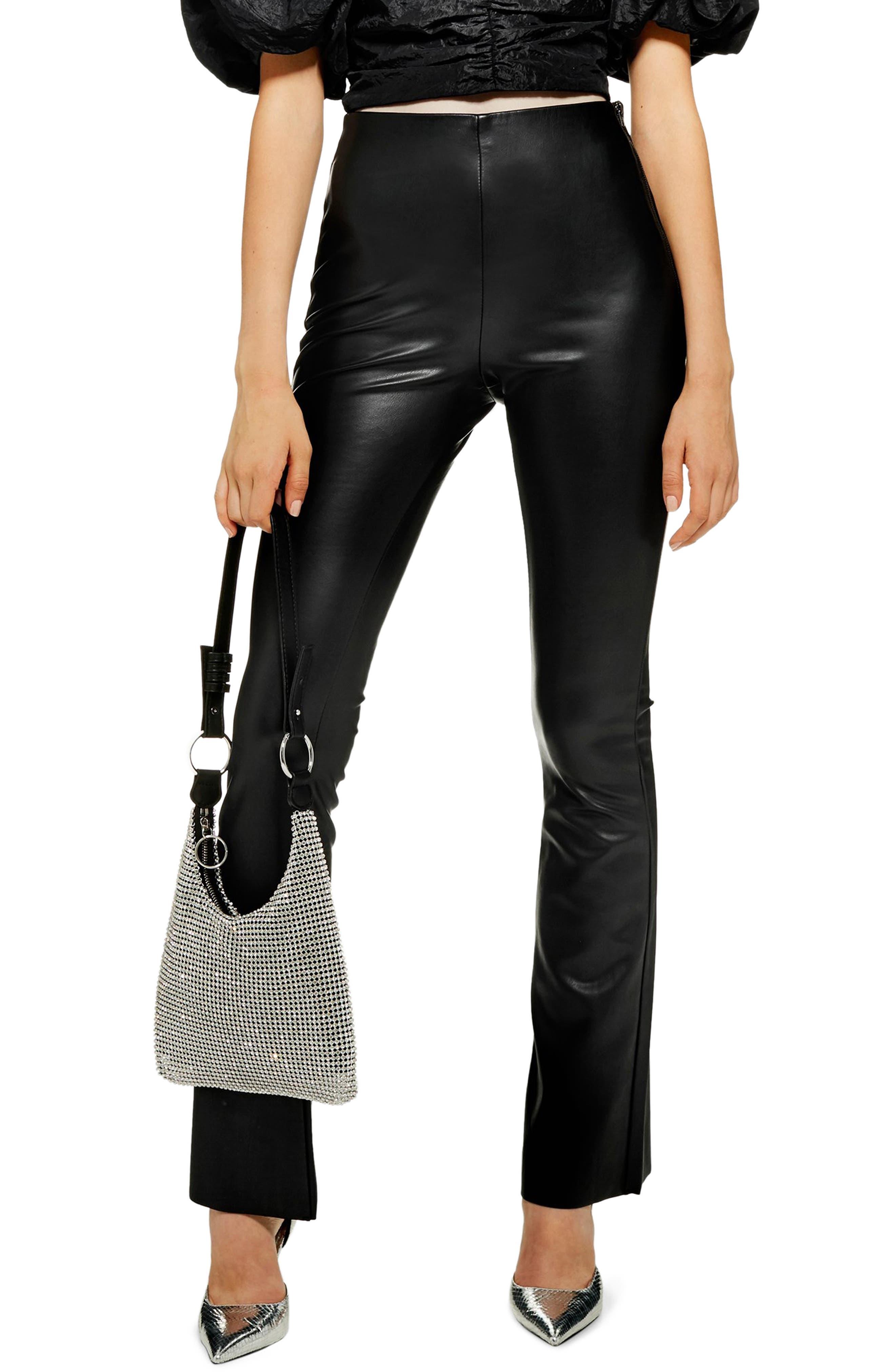 Faux Leather Flare Pants,                         Main,                         color, 001