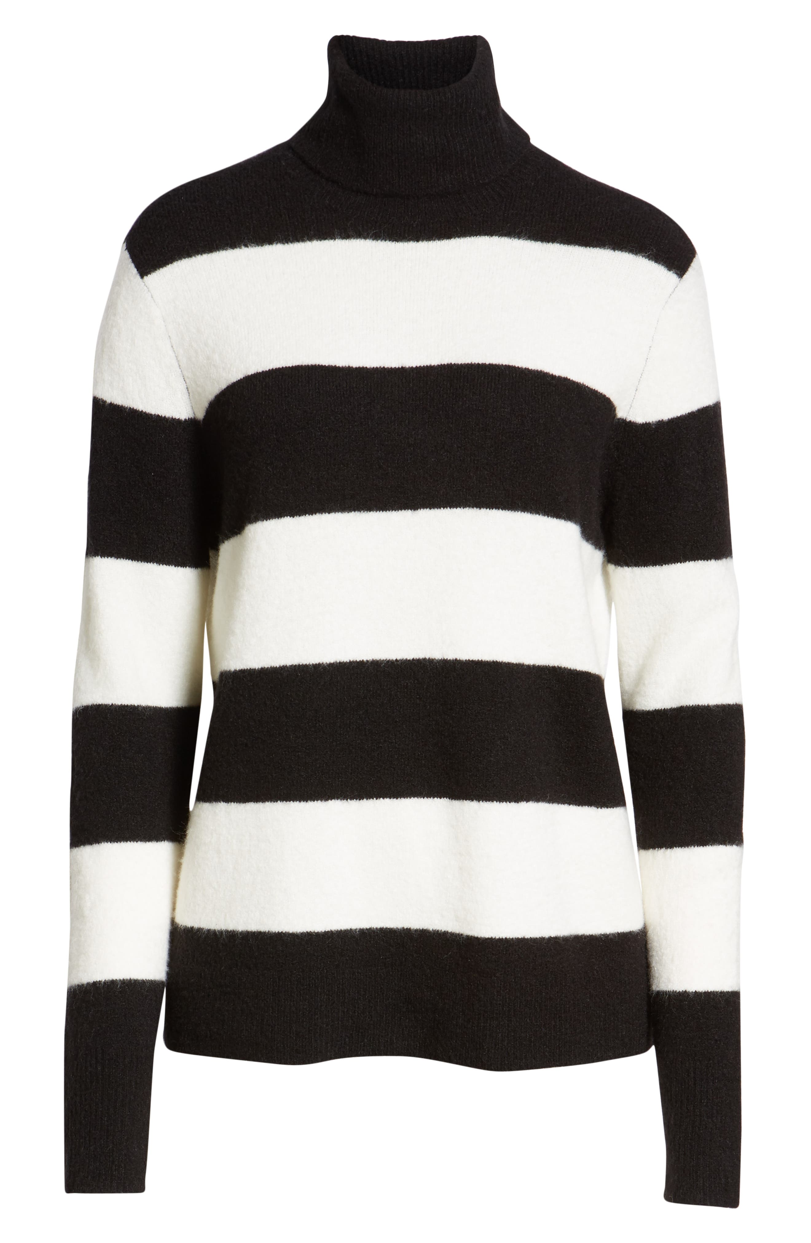 x Atlantic-Pacific Stripe Turtleneck Sweater,                             Alternate thumbnail 7, color,                             BLACK- IVORY STRIPE