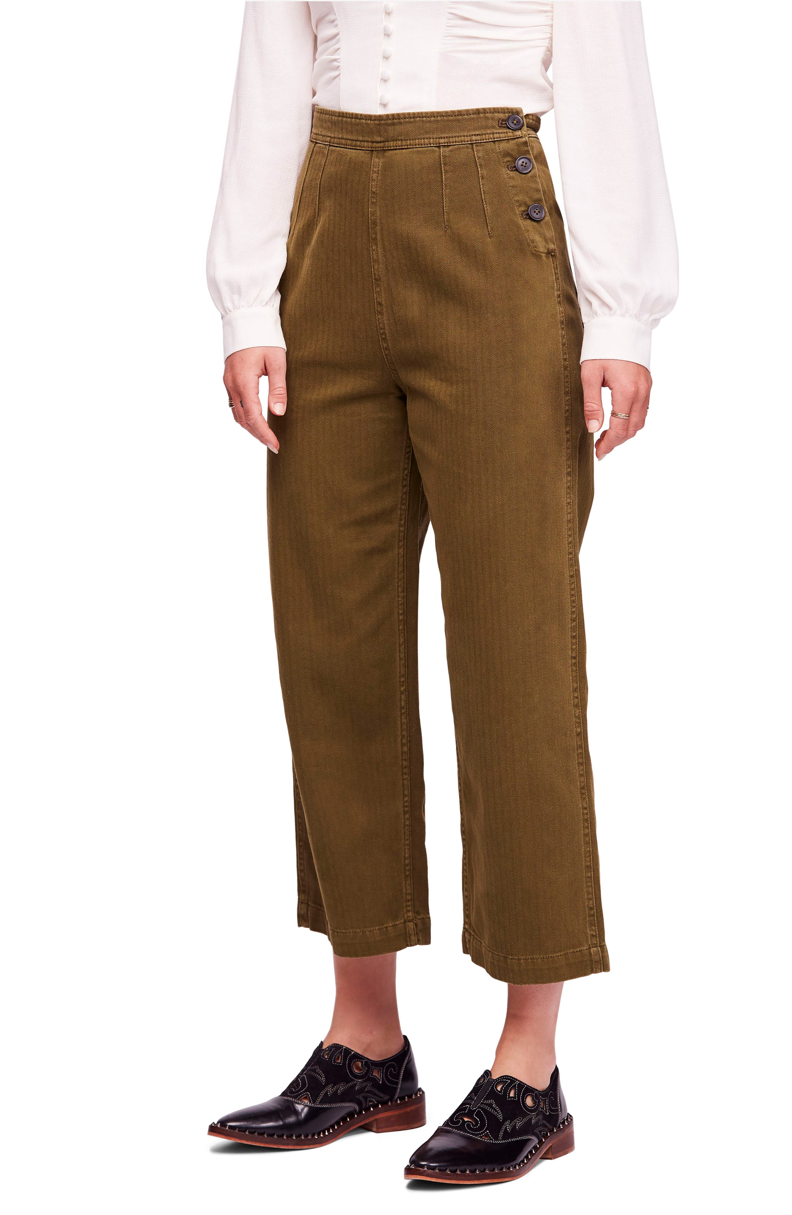 We the Free by Free People Utility Crop Pants,                             Main thumbnail 1, color,                             MOSS