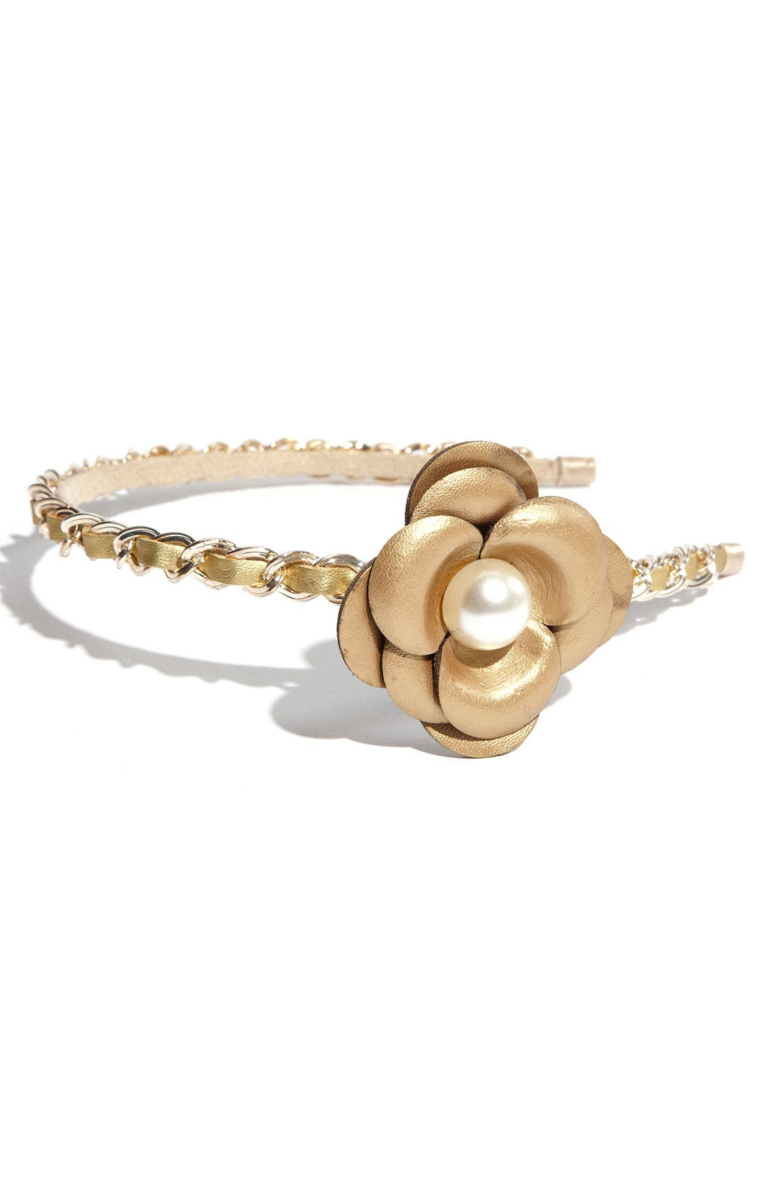 'Chic' Leather Flower Headband,                             Main thumbnail 3, color,