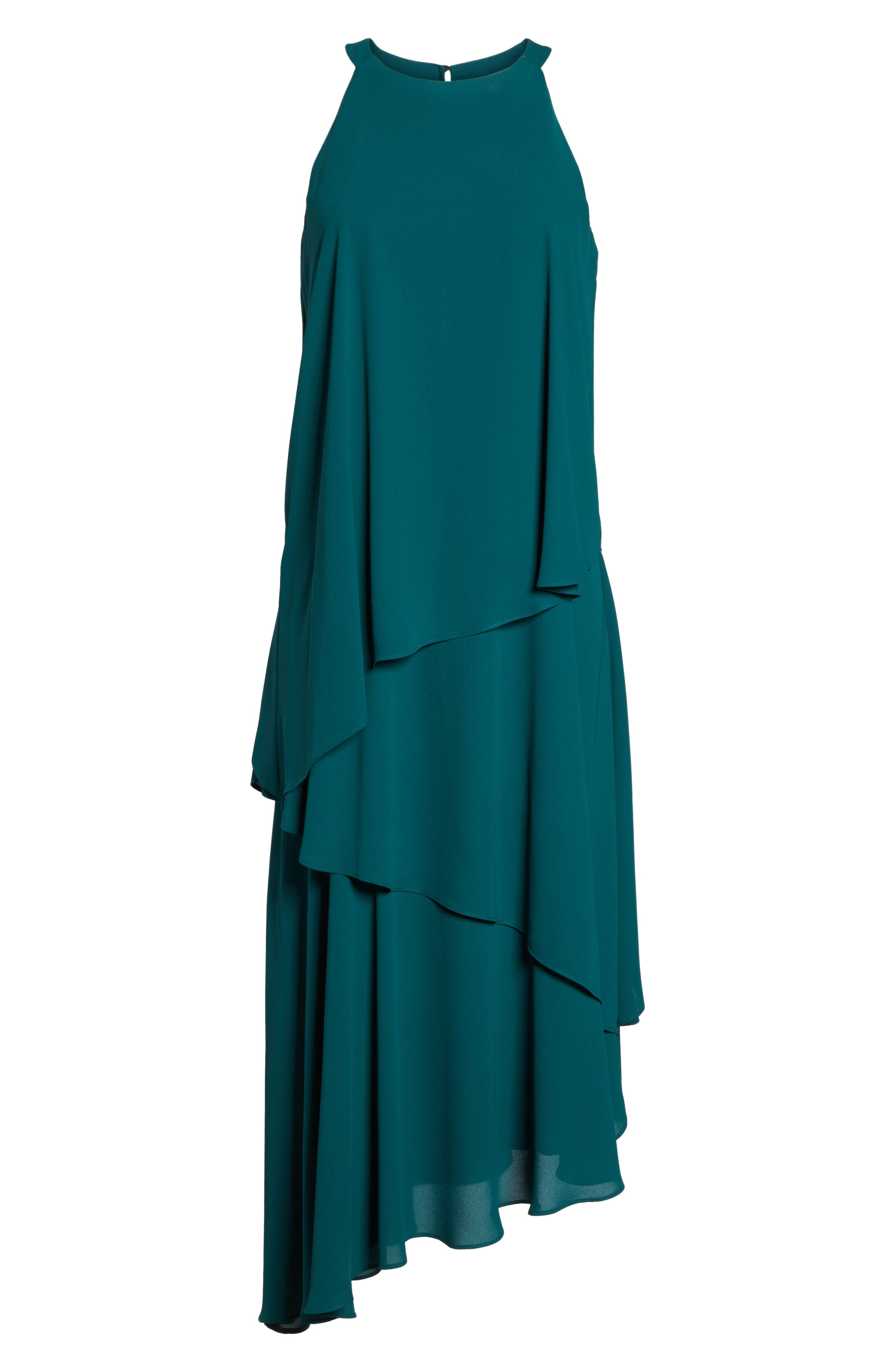 Georgette Asymmetric Dress,                             Alternate thumbnail 7, color,