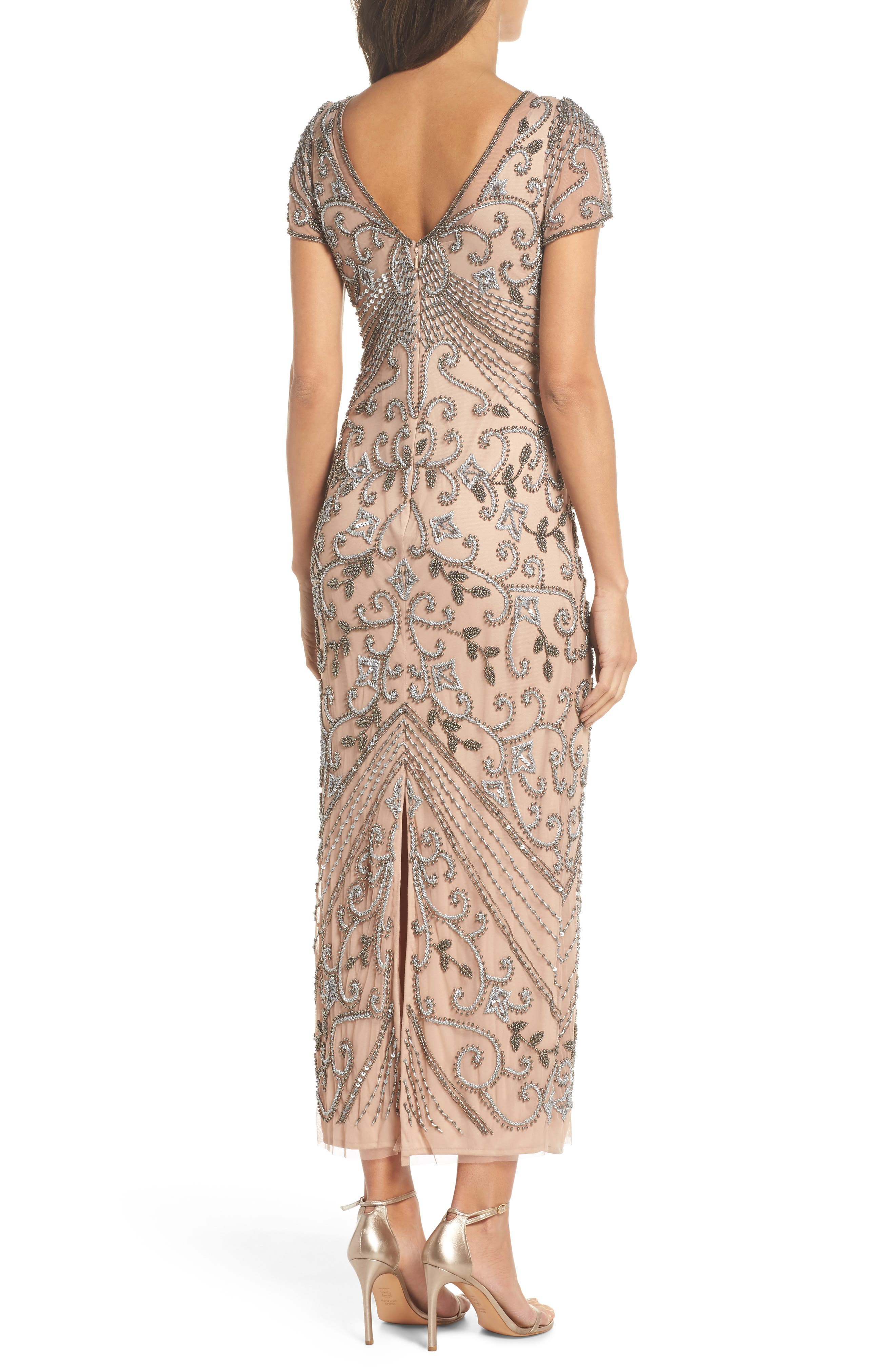 PISARRO NIGHTS,                             Beaded Longline Gown,                             Alternate thumbnail 2, color,                             ROSE