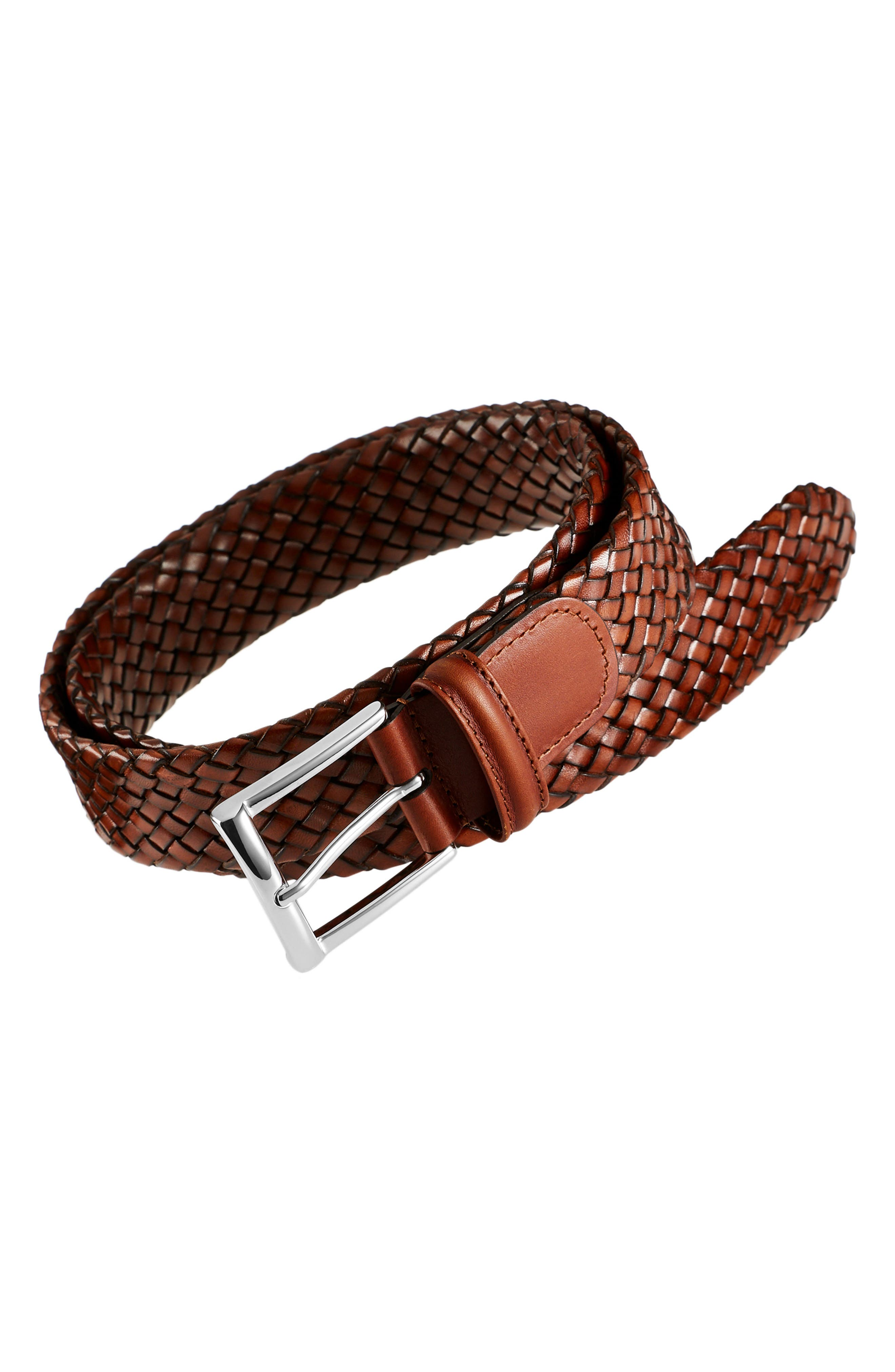 ANDERSONS Woven Leather Belt in Mid Brown