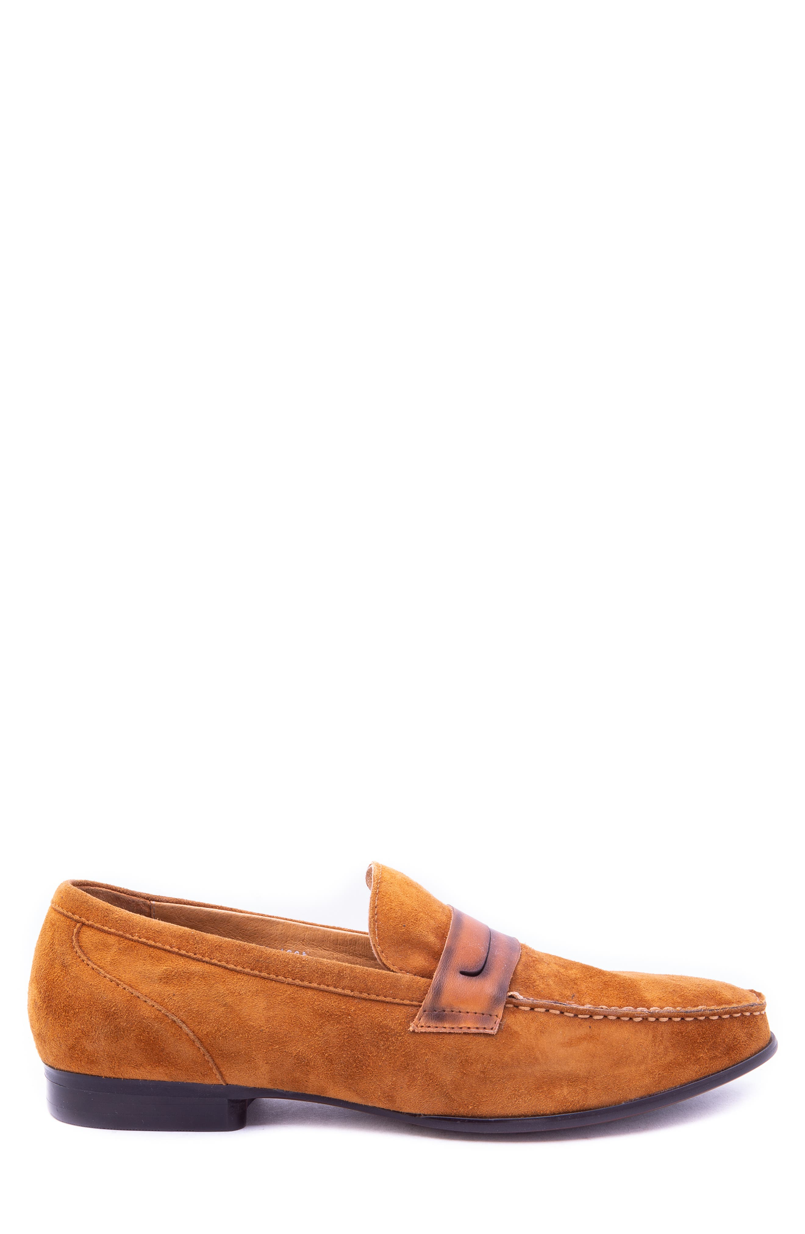 Opie Penny Loafer,                             Alternate thumbnail 3, color,                             COGNAC SUEDE/ LEATHER