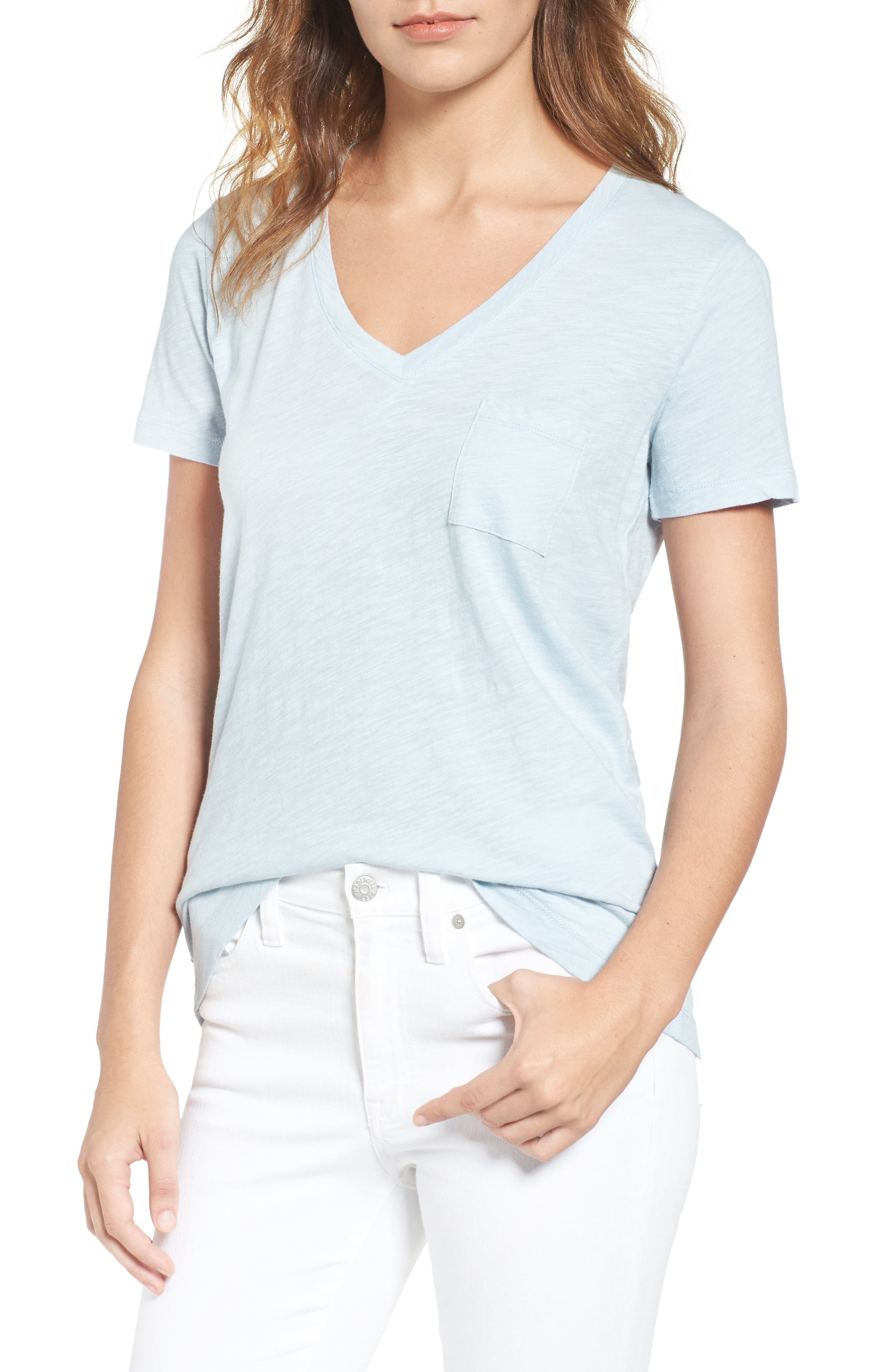 Whisper Cotton V-Neck Pocket Tee,                             Main thumbnail 26, color,