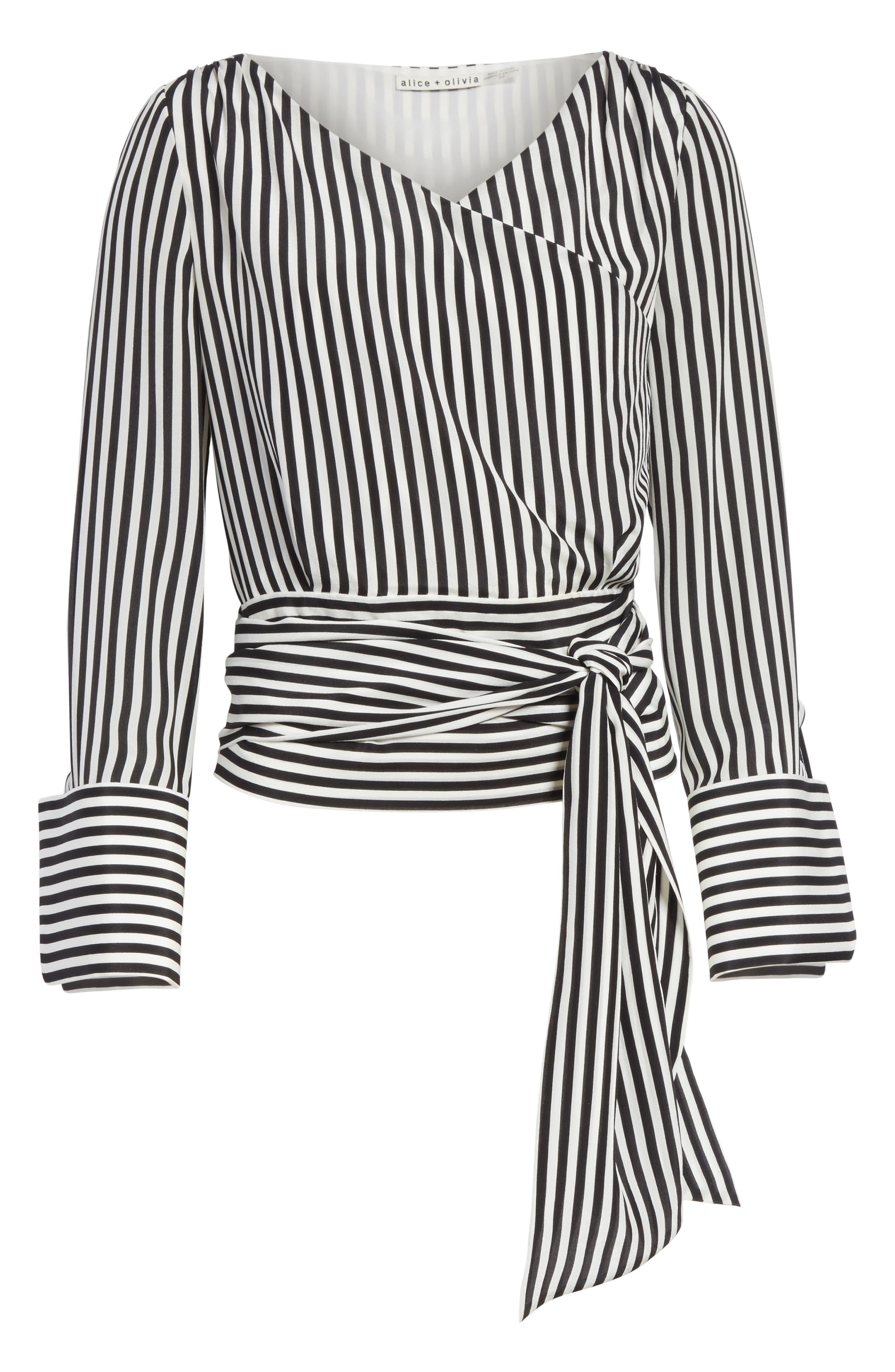 Alba Tie-Waist Silk Blouse,                             Alternate thumbnail 6, color,