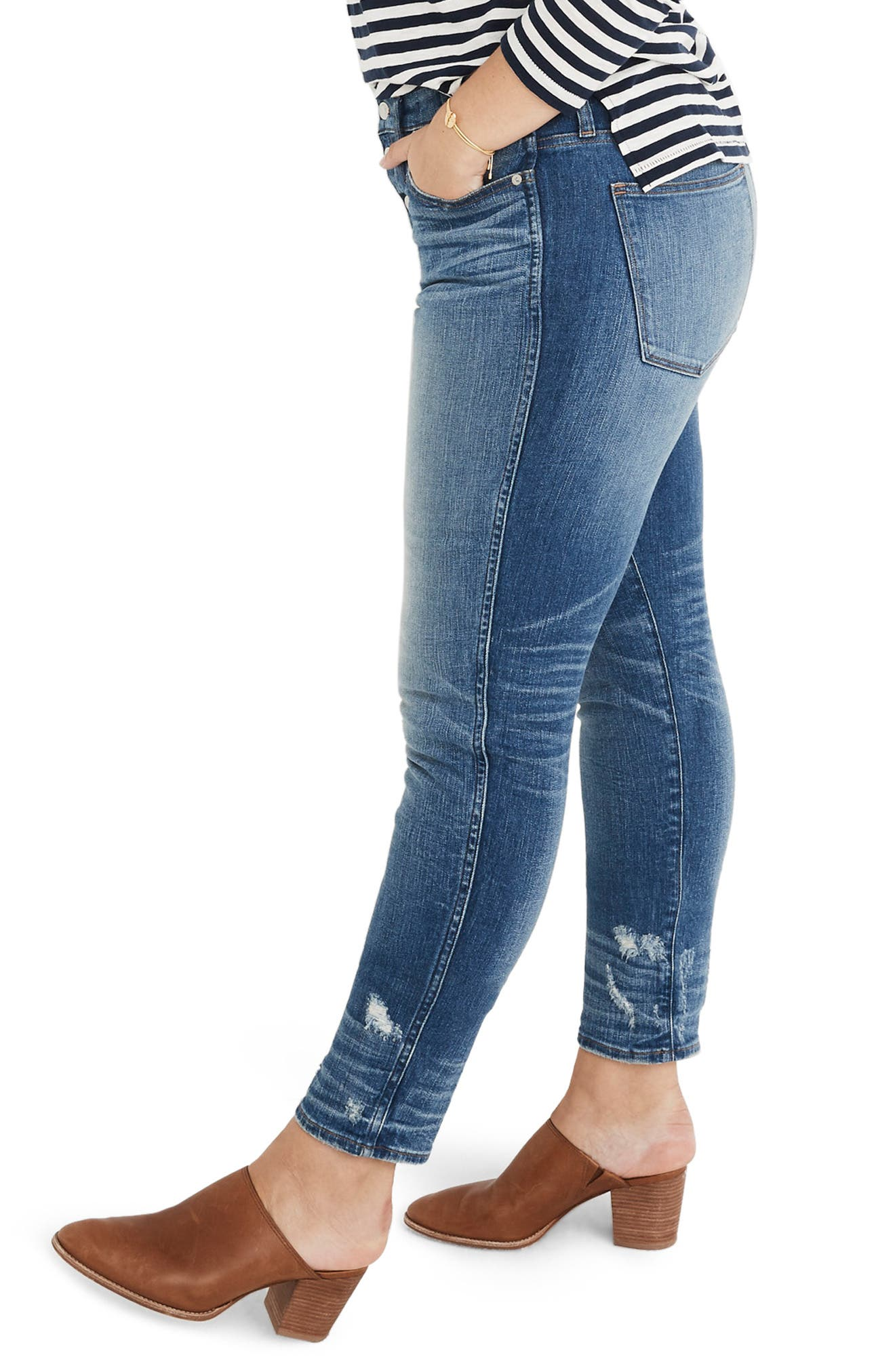 Distressed Button Front High Waist Slim Straight Jeans,                             Alternate thumbnail 3, color,                             CAROLINE